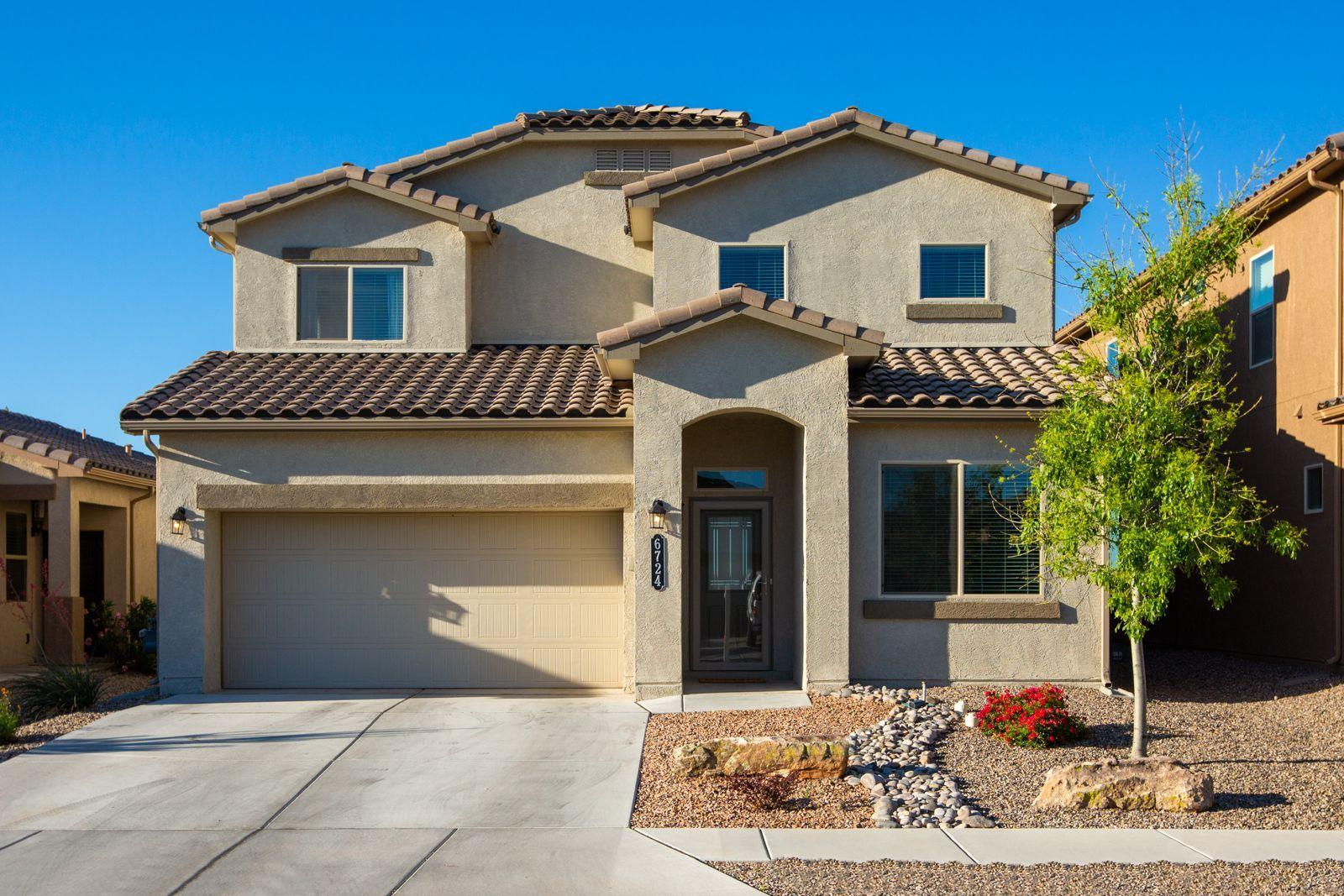 Immaculate move-in-ready DR Horton home located in the Trails community. Home features 2,674sg with 4 bedrooms, 3.5 bathrooms, an office and loft space! Great living area with soaring ceilings and a wall of sliding doors. Beautiful kitchen with upgraded espresso cabinetry, granite countertops, custom backsplash, stainless steel gas range, microwave, dishwasher, pantry, center island with seating space. Dining right off of the kitchen. Master suite with a sitting area and private bath. Bath hosts dual sinks, a large walk-in shower and a walk-in closet. Upstairs find a huge loft perfect for a kids area! Outside enjoy dinner under the covered patio watching those Sandia sunsets.