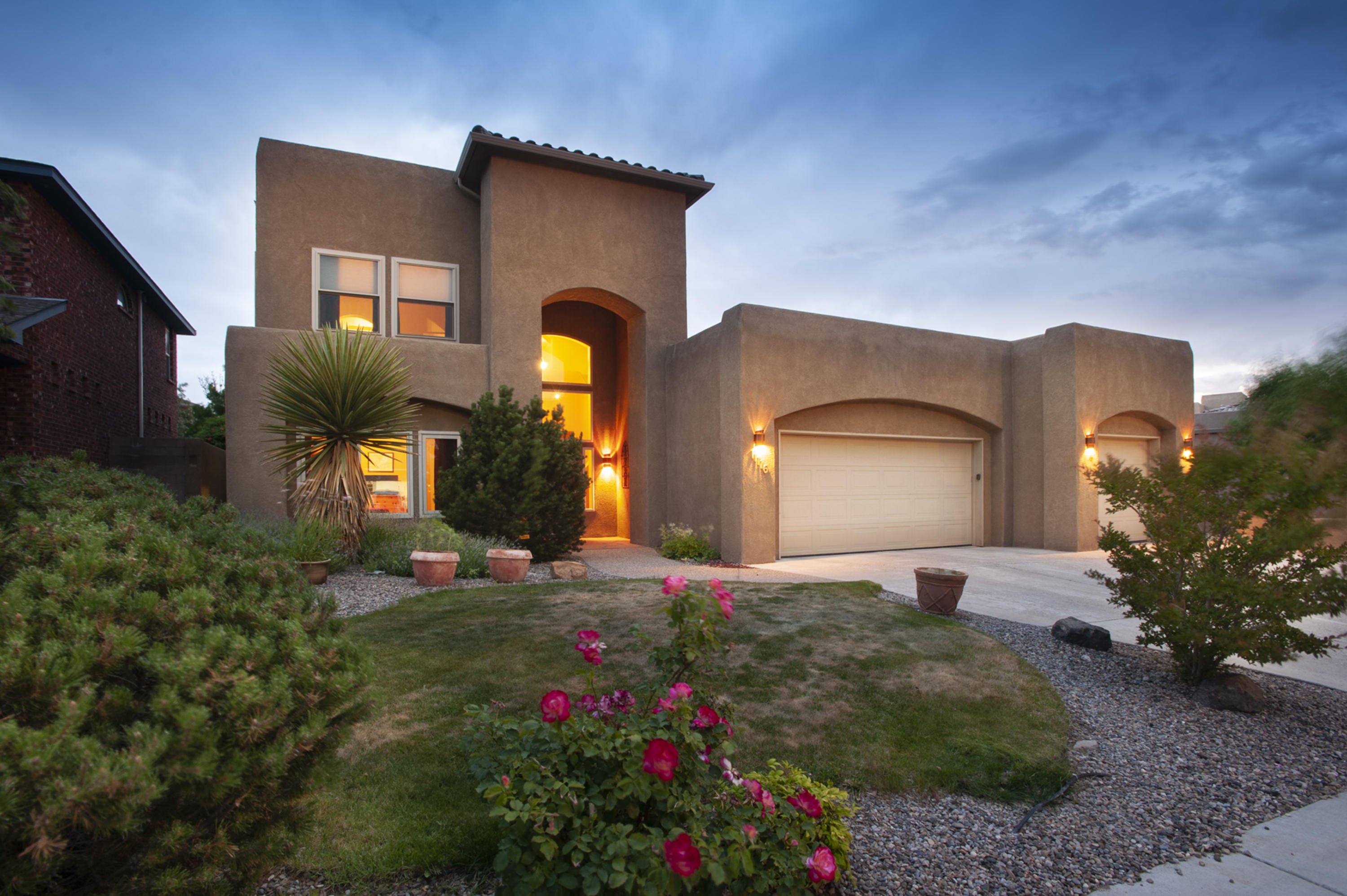 Welcome! Quintessence Neighbohood. Great schools! Beautiful custom contemporary SW style home.Casual elegance at its finest.Updates & Upgrades throughout.This 2 story home offers 4 BR's,study,3 full BA & 4 car tandem garage.(3rd bay heated & cooled w/office). 4th BR & BA main level.Gracious living rm w cozy FP. Formal dining/play rm. Gourmet Kitchen w island & seating bar. Breakfast dining too.Upstairs has the master suite w updated luxury bath. Spectacular yards.Mountain vistas. Open & covered patios.Room for adult entertaining & play structure for kiddos.Amenities: slate flrs,cherry hardwood flrs,ceiling fans,corian & granite counters,vessel sinks,6 burner gas stove,designer paint, arches, skylights,gutters&smart security system. HWH  '19 ,AC/Furnace '15,Windows,Double Oven,DW,Refrig '19