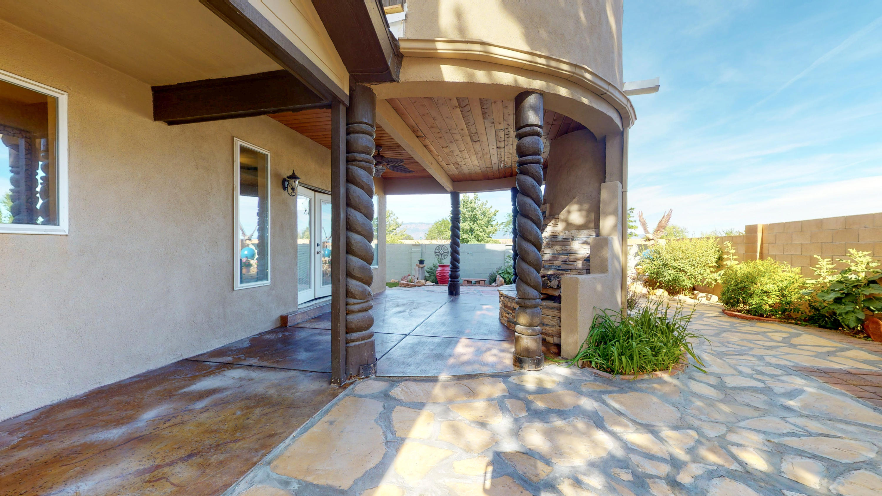 Wonderful semi-custom home! Awesome mountain & city views! New roof done in 4/2020 except upstairs family room. Refreshing Refrigerated air! Water heater is about 6 months new! Equipped & private office! Solid wood doors!  Travertine tile! All rooms are on main floor except the family/recreation room! Entertaining delight in front courtyard, living room with access to retreat like backyard with tailor-made covered patio with outdoor kiva fireplace, Upstairs recreation room with balcony! Spacious bright kitchen! Owner's suite with separate tub/shower & double sinks.  Backyard vehicle access! You'll love this​​‌​​​​‌​​‌‌​‌‌‌​​‌‌​‌‌‌​​‌‌​‌‌‌ one!