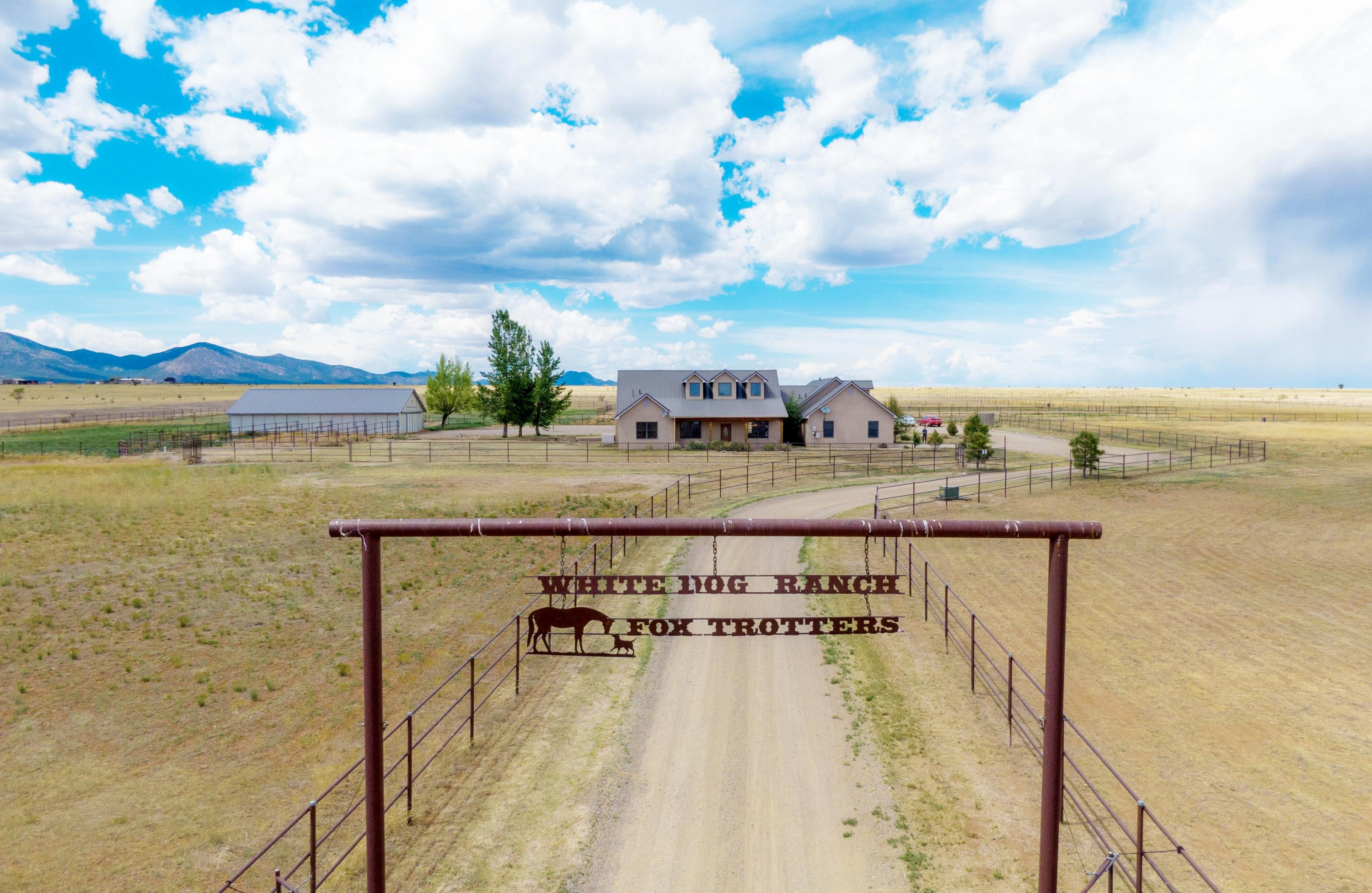 Edgewood & South Santa Fe County's Premier Residential horse facility, White Dog Ranch. 20 acres pipe-fenced & cross fenced w/water in each paddock.  Barnmaster 8-stall barn, w/tack room, feed storage and two convertible mare foaling stalls.  Full size arena and room for cows.  Plenty of trailer parking and several RV hookups.  Secure lockable entrance drive, and central acreage area fenced for dogs surrounding the residence. Executive Home,  Luxury interior with living room wood-burning fireplace & master suite pellet stove. Custom tile throughout, no carpet. Large open floor plan, 4/5 bedrooms, 3 full baths.  Gourmet kitchen and keg fridge.  Wired for surround sound, and internet.  Good private well, and radiant floor heat throughout, Don't miss out, Nothing like it on the market!