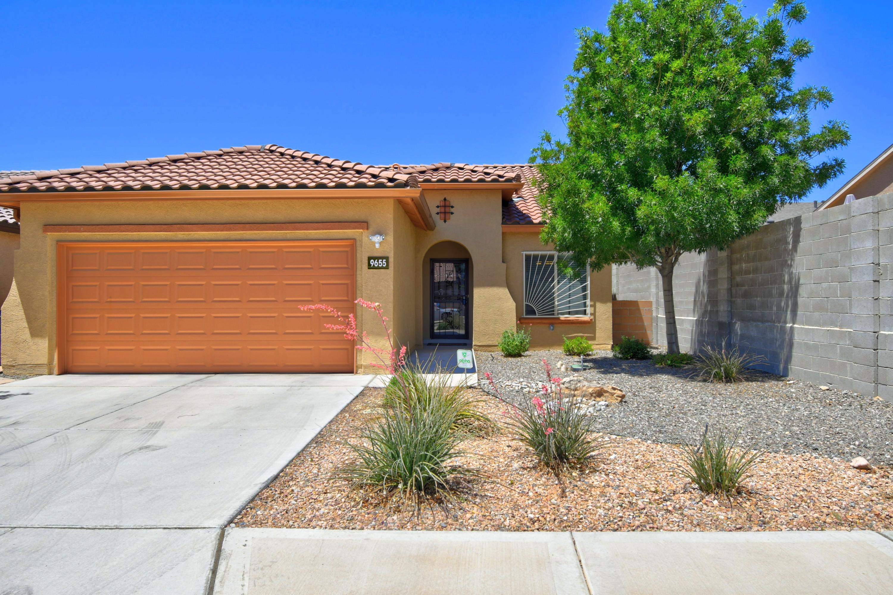 Welcome home to The Boulders!  This move-in ready gem is full of upgrades.  NO Carpet....Tile & NEW Vinyl Wood-Look Flooring (2019).  Kitchen has Granite counters, NEW Gas Range (2020) and Eat-In Kitchen.  This beautiful Pulte Home is  Build Green New Mexico Certified and includes Low-E windows, tankless water heater, refrigerated A/C and tile roof.  The gorgeous SW landscaped backyard has a covered patio, Drip-System, and turf for easy maintenance.  Enjoy the privacy of being at the end of this lovely street, all while being close to restaurants, stores, and more.  Come see today!
