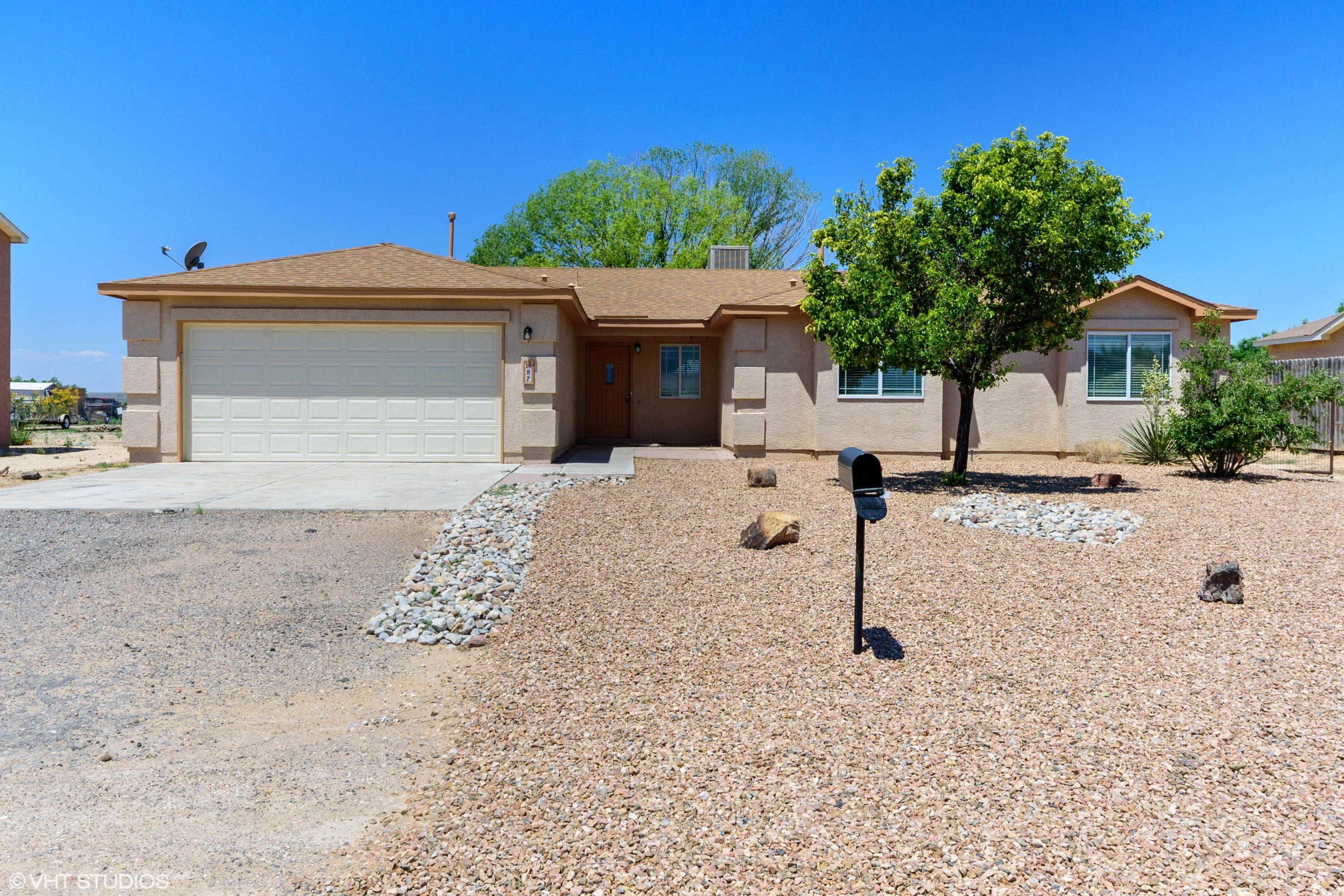 Beautiful move in ready property in Rio Rancho. Home features an open floor plan  with new flooing, fresh paint. Kitchen offers plenty of cabinet space with new granite counter tops and new stainless steel appliances. Master bedroom offers large walk in closet and bathroom with double sinks. Large backyard with access. Septic tank was installed.