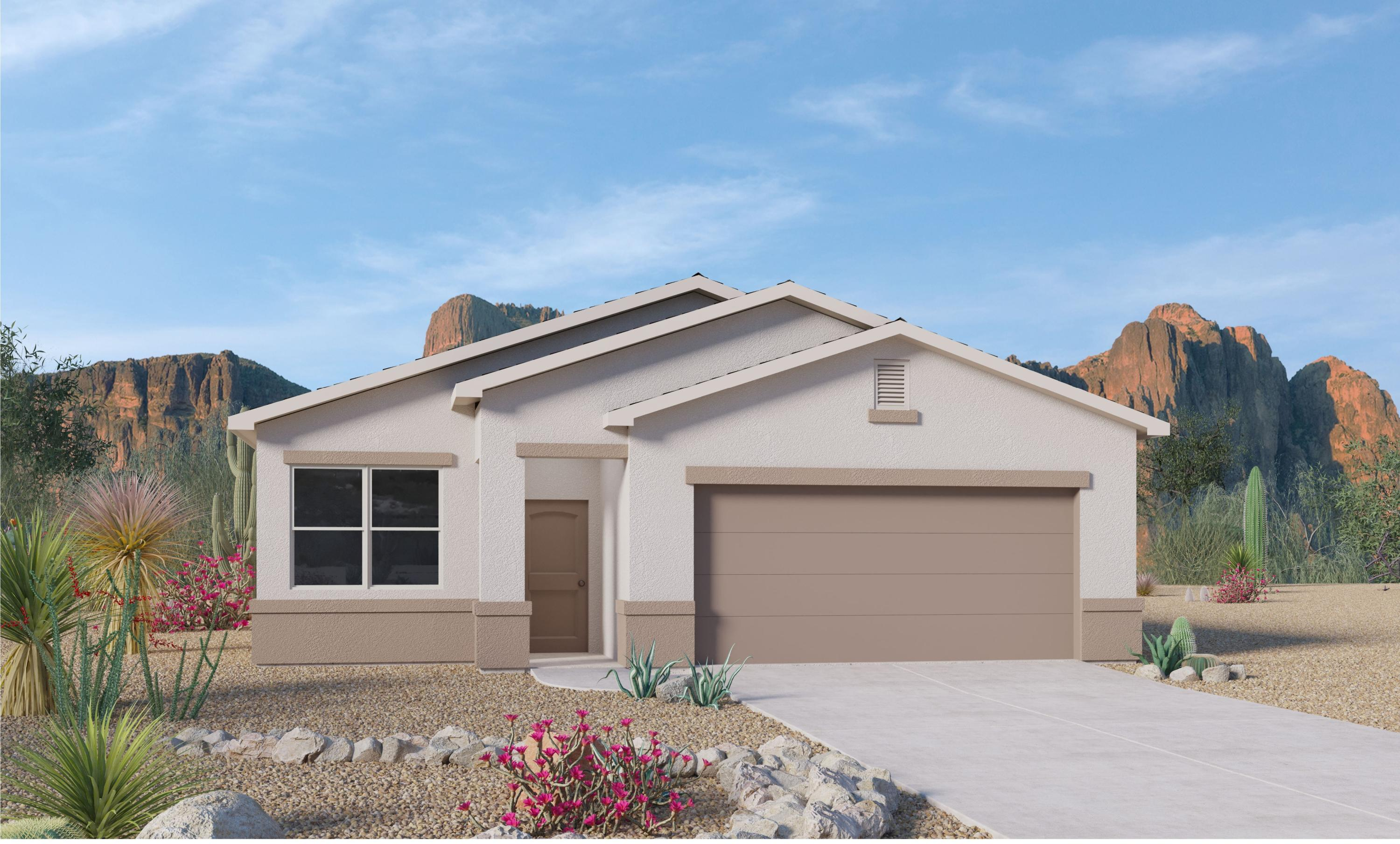 This Brand New  Jemez floorplan is in convenient Solcito Neighborhood. This ''SMART'' home has an open floor plan with plenty of natural light. The kitchen is the heart of this home with a large granite topped island & plenty of cabinet & pantry space.  18 x 18'' floor tiles. The great room has a sliding door that overlooks the covered patio area. 2 Spacious bedrooms are located next to the full bathroom and utility room. The Owner's Suite on opposite side has raised ceilings, with two windows for extra light. Master bath is complete with an over-sized walk-in closet and extended shower. Energy efficient, this home estimate completion in October. Photos are of Jemez Model home,