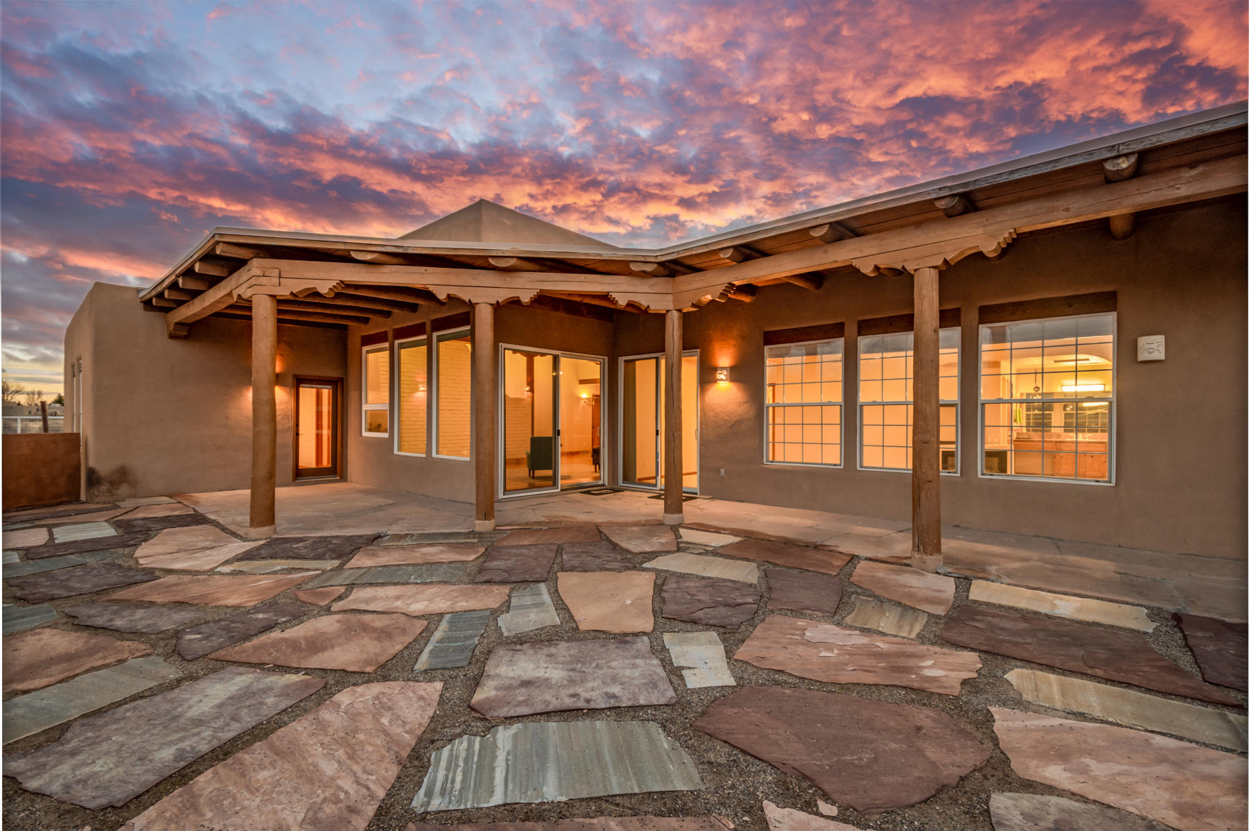 This RARE 7 acre horse training facility, conveniently located NW of Alb,& 45 minutes from Santa Fe, in Corrales, features fully equipped 11-stall show barn w/ studio, heating/cooling, W/D hook ups.10 half covered outdoor pens,7-stall foaling barn/shop, 80 x150 covered arena, turnout, 60 round pen,4 loafing shed, approx 3 1/2 acres  irrigated pasture! w/ MRGCD. This southwest custom home offers, beautiful tile floors, high ceilings w/ vigas, kiva fireplace, windows that frame the mountains! Cook's kitchen, island,custom cabinetry, stainless steel appliances,open dining great for entertaining, unbelievable MBR suite. FP,views of the Sandia's.Casita w/sep courtyard entry. Excellent opportunity for investor to subdivide with 1 acre lots.Google maps use 101 Larrabee Farm Rd Corrales NM 87048