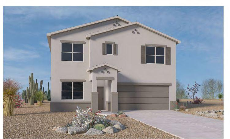 This beautiful open Gila model offers large open concept great room, PLUS big loft upstairs. The kitchen has a long island for plenty of seating with granite-countertop & a spacious pantry. You can enjoy your breakfast in the nook next to the patio or have a nice family dinner in the formal dining area.   OR enjoy bbq on back covered porch.  Yard faces east so cool in the summer evenings.  The kitchen and all baths have 18 x 18 inch slate color tile and dark wood cabinets. The huge Loft/Game Room on the second level separates the large owner's suite from 2 nice sized Bedrooms.  Est. Oct. completion on this Brand NEW DR HORTON home conveniently located in Solcito neighborhood! Backs to walking trail, Close to parks, pool, ice skating, shopping, schools. Interior Photos of a previous model.