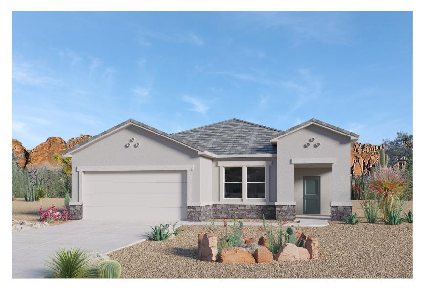 Beautiful NEW HOME in the Volterra IV community in SE ABQ! This never lived-in home is CURRENTLY BEING BUILT. Our incredible 1-story ''Clayton'' model offers a bright and open kitchen / living area. Besides plenty of standard features like granite kitchen countertop and tile flooring, the GAS STUB AT THE PATIO AND FRAMELESS HEAVY GLASS WALK IN SHOWER will make your home stand out! Primary bedroom is secluded from the remaining two bedrooms to guarantee privacy, after a family dinner in the spacious dining area or on your own covered outdoor patio... Call today to set up a showing of our beautiful model homes or to learn more about our Volterra IV community!