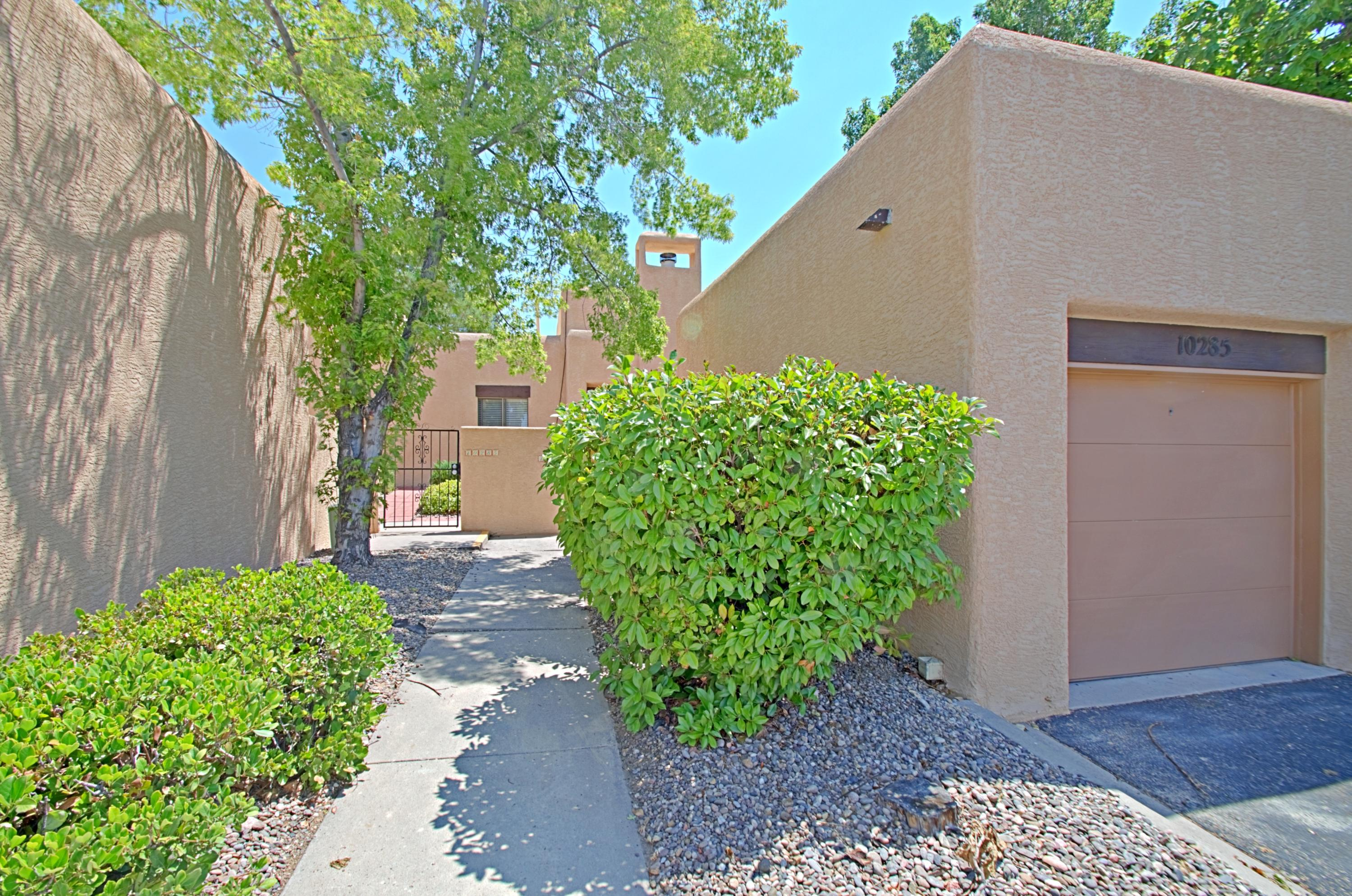 This condo has great views of the Sandias which makes it stand out from the others.  Large outdoor patio area with access from Dining Area and Master Bedroom.  Covered and uncovered patio.  New Carpet and Refrigerator 2020.  New stucco entire unit, walls and garage 2020.  At time of purchase garage was dry walled and garage wooden door replaced with metal.  Broker is owner/broker for mother who was owner/occupant since 2008. New roof, evaporative cooler and hot water heater 2020. Previous owner stated verbally that , window coverings, microwave, oven, dishwaser, furnace,  washer and dryer were new approx 2005.