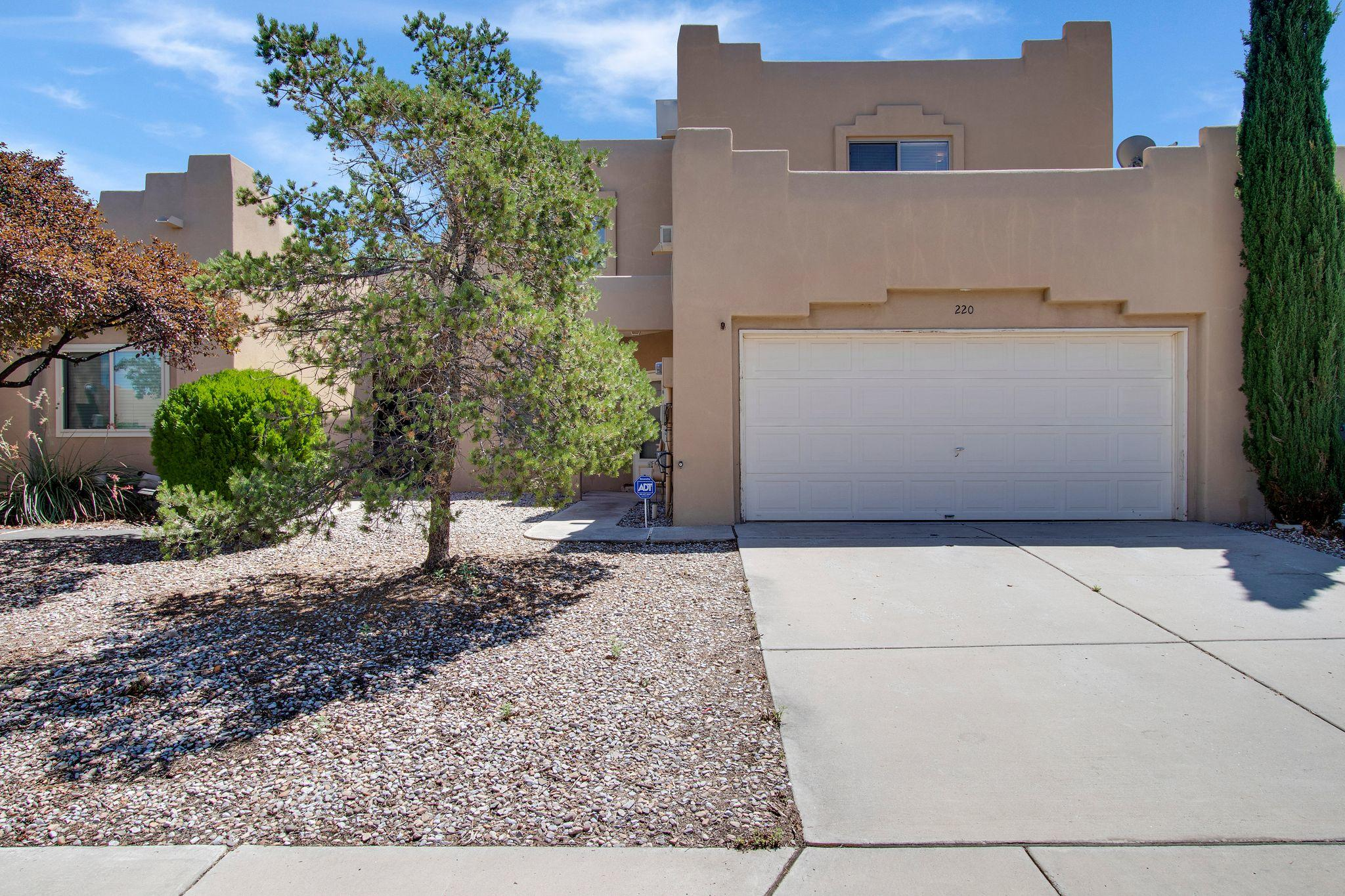 Welcome to your spacious townhome just minutes from Kirtland Air Force Base! You will enjoy the mountain views from your generous back yard and upstairs East-facing bedrooms. There is a neighborhood park and courtyard providing space between the units and allowing for the mountains to shine through. Inside the home, you'll walk in to an abundant living room area with a gas fireplace and crisp, modern flooring that flows into the kitchen. You'll find a sliding glass door leading you to your own back yard patio, providing indoor/outdoor living. Upstairs, there are a total of four bedrooms and two full bathrooms! All of this comes at a price point under $200,000.