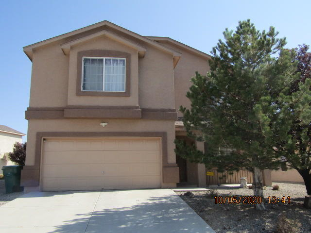 Newly painted exterior! Lovely 3 bdrm, 2.5 bath home at the end of a cul de sac in Northern Meadows. House has been completely sanitized! Huge covered patio faces the east so you can watch the sun come up over the Sandias while drinking your morning coffee! Formal living room/dining room plus the family room and the 15'x16' loft upstairs (could be 4th bdrm) makes 3 living areas for the family to spread out and enjoy! Evap cooler downstairs, refrigerated air upstairs, downstairs has been prepped for refrigerated air, just needs a compressor.  New 50 gal water heater, eating space in the kitchen!