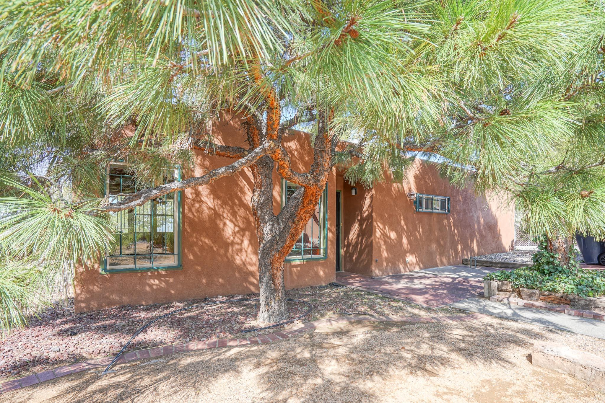 This charming one-story home in foothills area is move-in ready and features plenty of natural light, numerous updates, and views of the Sandias and city lights.Enjoy easy access to I-40 and nearby restaurants, groceries stores, shopping centers, and foothill trails. This home has beautiful beamed ceilings in the main living area with tile and brick flooring for easy maintenance. The large master bedroom has 2 closets and a dressing area.Refrigerated air will keep you cool all summer and double pane windows make the home energy efficient. Other nice amenities are a detached one car garage, tankless water heater, wood stove insert, TPO roof (2017) with transferable warranty. Front and back yards are nicely landscaped and well maintained.Home & Termite inspections, Repairs are complete