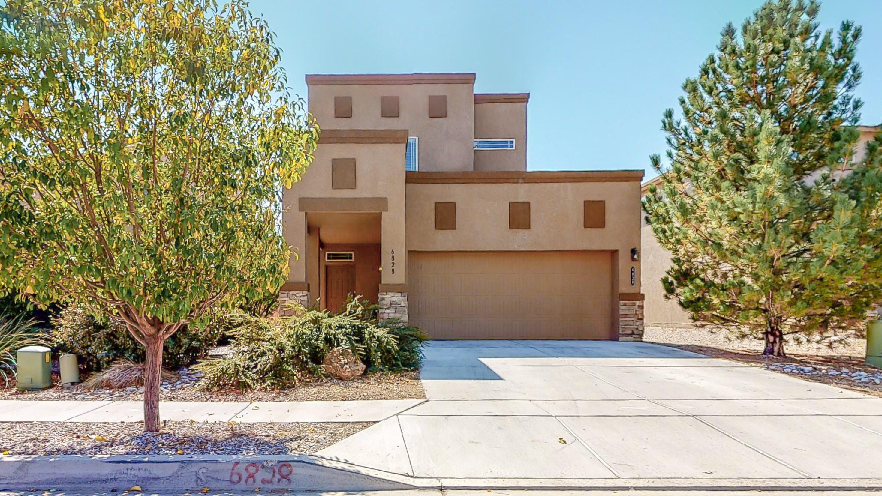 DR Horton two-story home featuring Green Build New Mexico Silver level! Great open floor, large living room that opens to the kitchen with an island and eating bar. Must see Interior, including the Executive Cabinet Layout in the kitchen, Stainless steel appliances, Extended Cover Porch, and three large bedrooms!   Private Master suite with walk-in closet! The upstairs washer and dryer make laundry day a breeze! Excellent curb appeal with a two-car garage! The backyard is ready for your creativity and has backyard access! Schedule a Private showing or take a virtual walkthrough tour today!