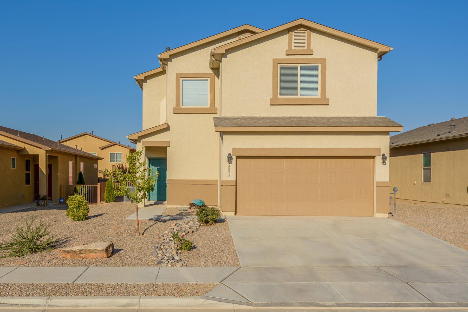 You will love this elegant DR Horton, Express Home Reveille floor plan at Northern and Broadmoor next to Milagro Mesa. Slight price modification due to beautifully designed, zero maintenance backyard with a meritage of NM's finest gravel. This beautifully designed home features 3 bedrooms, 2 car garage, 3 bath, 2 oversized walk-in closets in the master, conveniently located laundry room upstairs. Granite kitchen tops, spacious 5x3 walk in showers, and closet organizers are just some of the amazing included features. 2 heating and refrigerated cooling units plus premium insulation keep the temp just right. Drip irrigation and a beautifully landscaped front yard make maintenance a breeze. The oversized back yard is a blank canvas for you to create the desert oasis of your dreams.