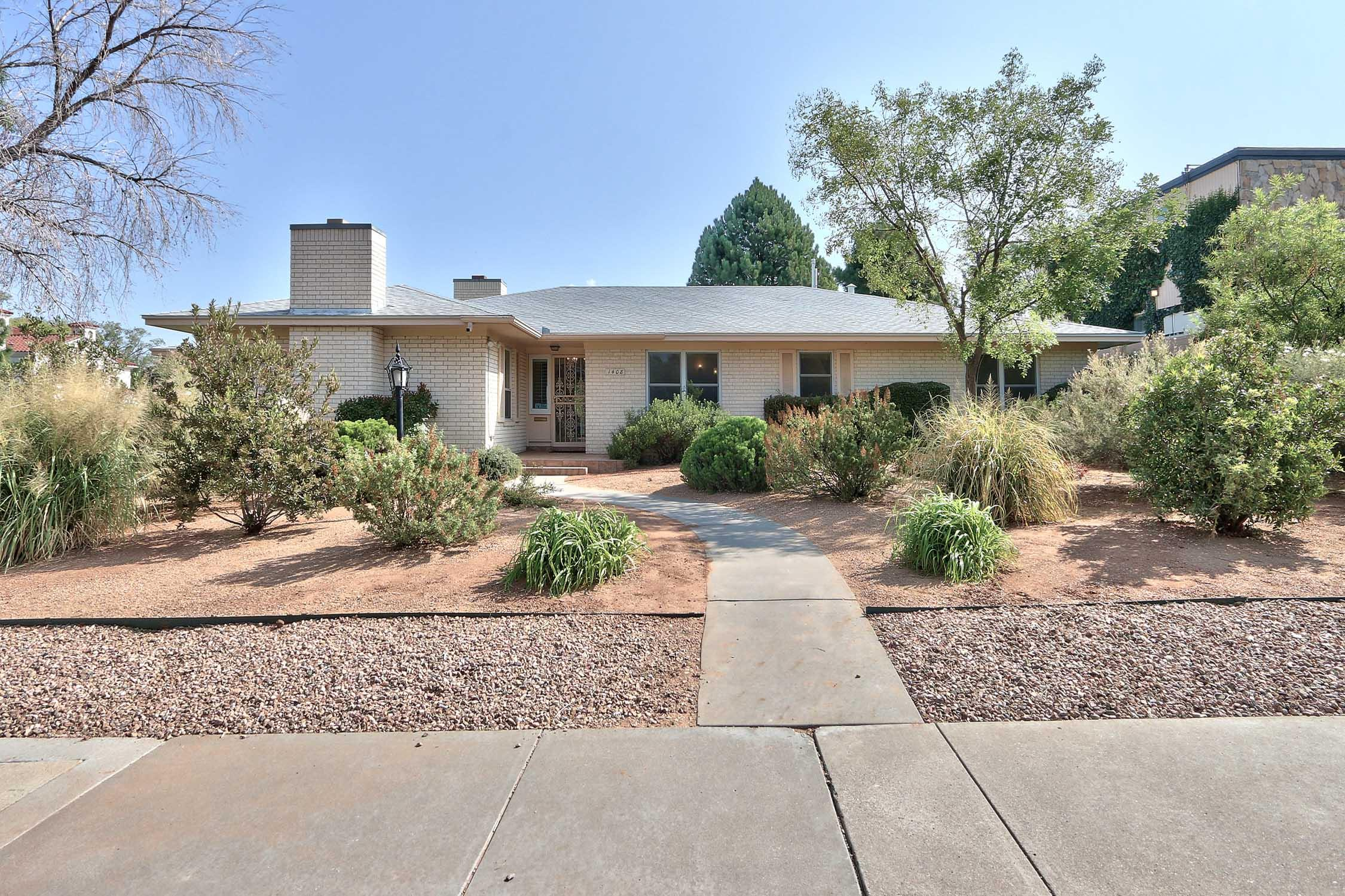 UNM Mid Century classic in lovely Altura Park neighborhood. Mossman built single level. Spacious open floor plan with 2 en-suite bedrooms plus 2 more. Professionally designed and landscaped xeric front and side yard. Grassy back is clean slate for buyers kids, pets and big enough for a pool. Roof replaced 9/2020. Some newer mechanical systems.  Updated kitchen has quartz and hardwood counters, St. Charles cabinets, Sub zero and large dining nook. Plantation shutters thought out the home. Close to campus, downtown and hospitals in a highly desirable area.