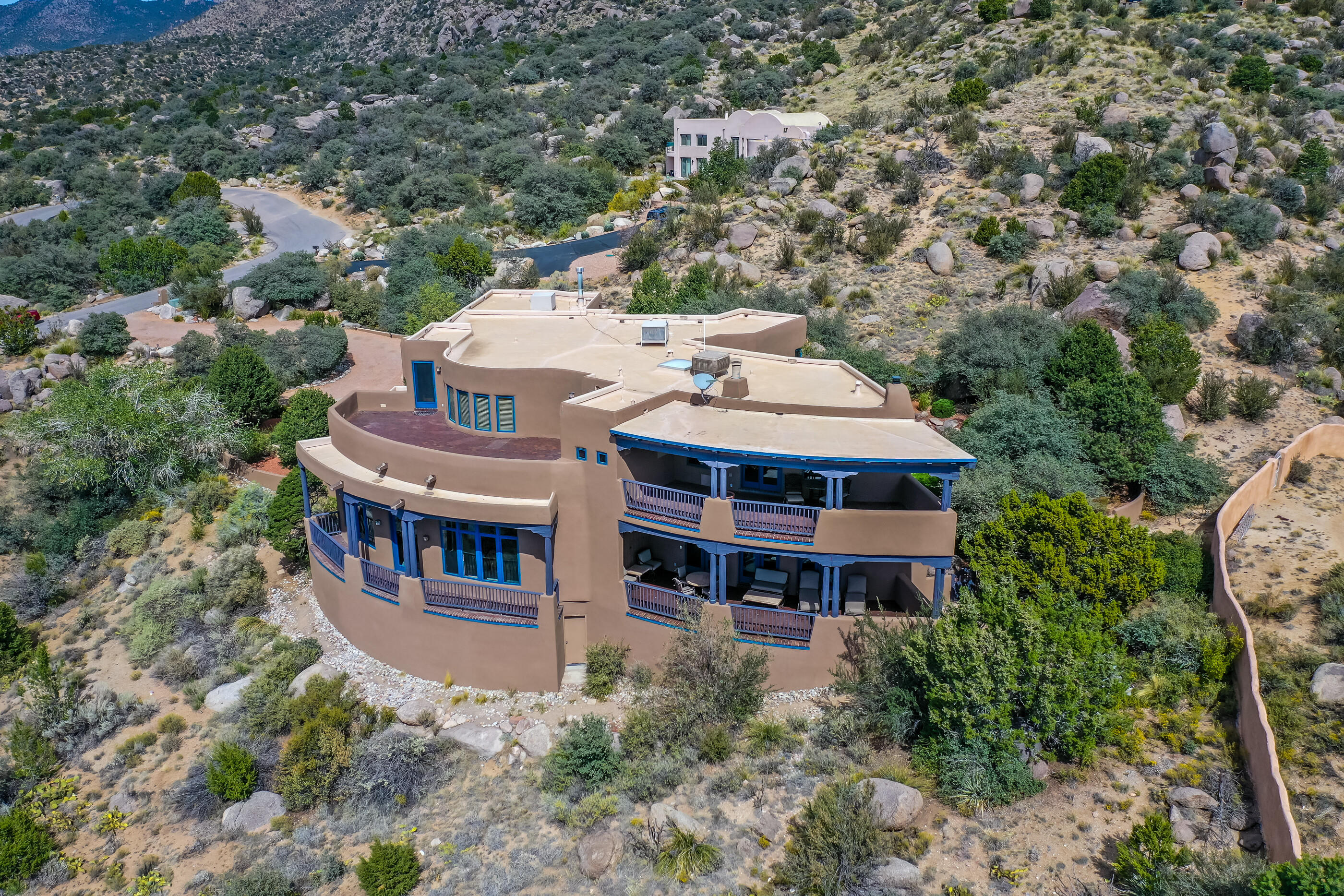This Stunning Home Is Privately Tucked Away And  Dramatically Situated For Incredible VIEWS!The Versatile Floor Plan Offers Multigen Living W/4/5BR(2 Down 1-Inlaw Suit),Large Home Office, 5BA, 2Living Areas,Formal Dining,Outdoor Living, 3CG,100K Upgrades In New Roof, Stucco, Canalles&Carpeting!Enter The Sitting & Formal Dining Area W/Stunning Panoramic Views Overlooking The City. 2nd Living Area Includes Custom Built In Shelving And Kiva Wood Burning Fireplace.The Kitchen Has A Huge Granite Island, Gas Stove Top,Ample Counter  & Cabinet Space! Upstairs You Will Find The Master Suite W/Extraordinary Viewing Patio, Luxurious Master BR& Huge Walk In Closet!2 Oversized BR &Loft W/Wet Bar Which Is Large Enough For An Oversized Pool Table.The Backyard Is Ready For Entertaining & Beautiful Views!