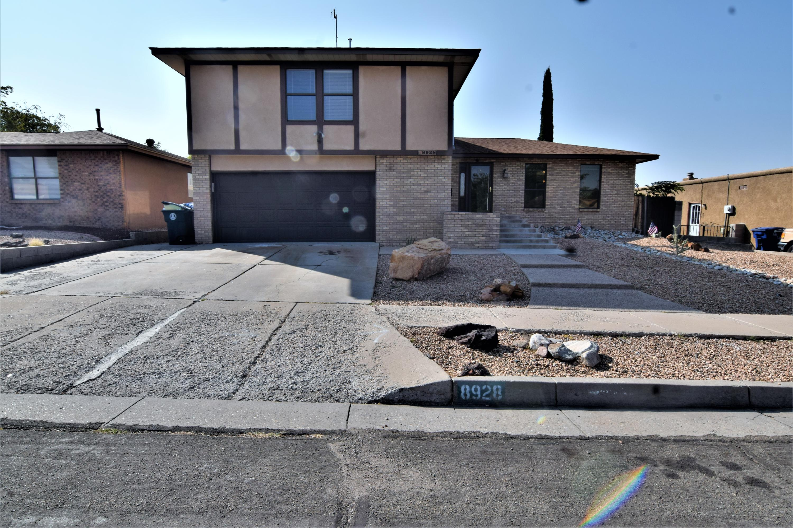 Recently updated home  in La Cueva High district!   Don't miss the split level home  with an open, flowing floorplan! It has na custom Chef's kitchen with tons of counter space and pull-out cabinet shelves!    Relax in the in-ground pool and hot tub! Newer TPO roof, updated flooring, and more!  Low maintenance landscaping and a beautiful rose garden in the backyard.   See this one Today!