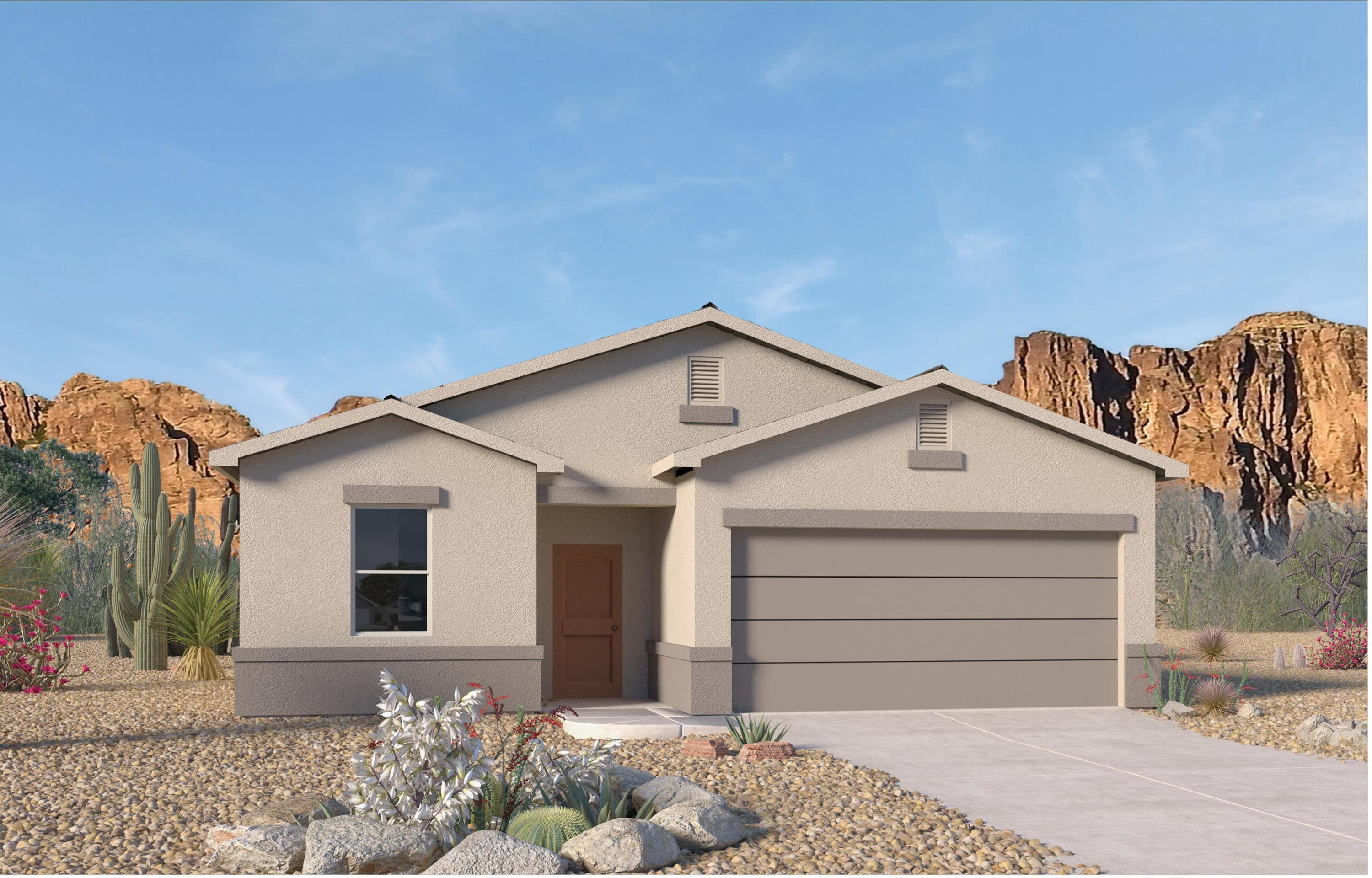 This Brand New  Jemez floorplan is in convenient Solcito Neighborhood. This ''SMART'' home has an open floor plan with plenty of natural light. The kitchen is the heart of this home with a large granite topped island & plenty of cabinet & pantry space.  18 x 18'' slate colored floor tiles. The great room has a door that overlooks the covered patio area,  2 Spacious bedrooms are located close to the full bathroom and utility room. The Owner's Suite on opposite side has raised ceilings, w/ two windows for extra light. Master bath is complete with an over-sized walk-in closet and extended shower. Energy efficient, this BRAND NEW home estimate completion in January ''upgrades included''  Ask about our ''move in Package  & $5,000 closing costs with DHI mort..  Photos are of prior Tesuque Model