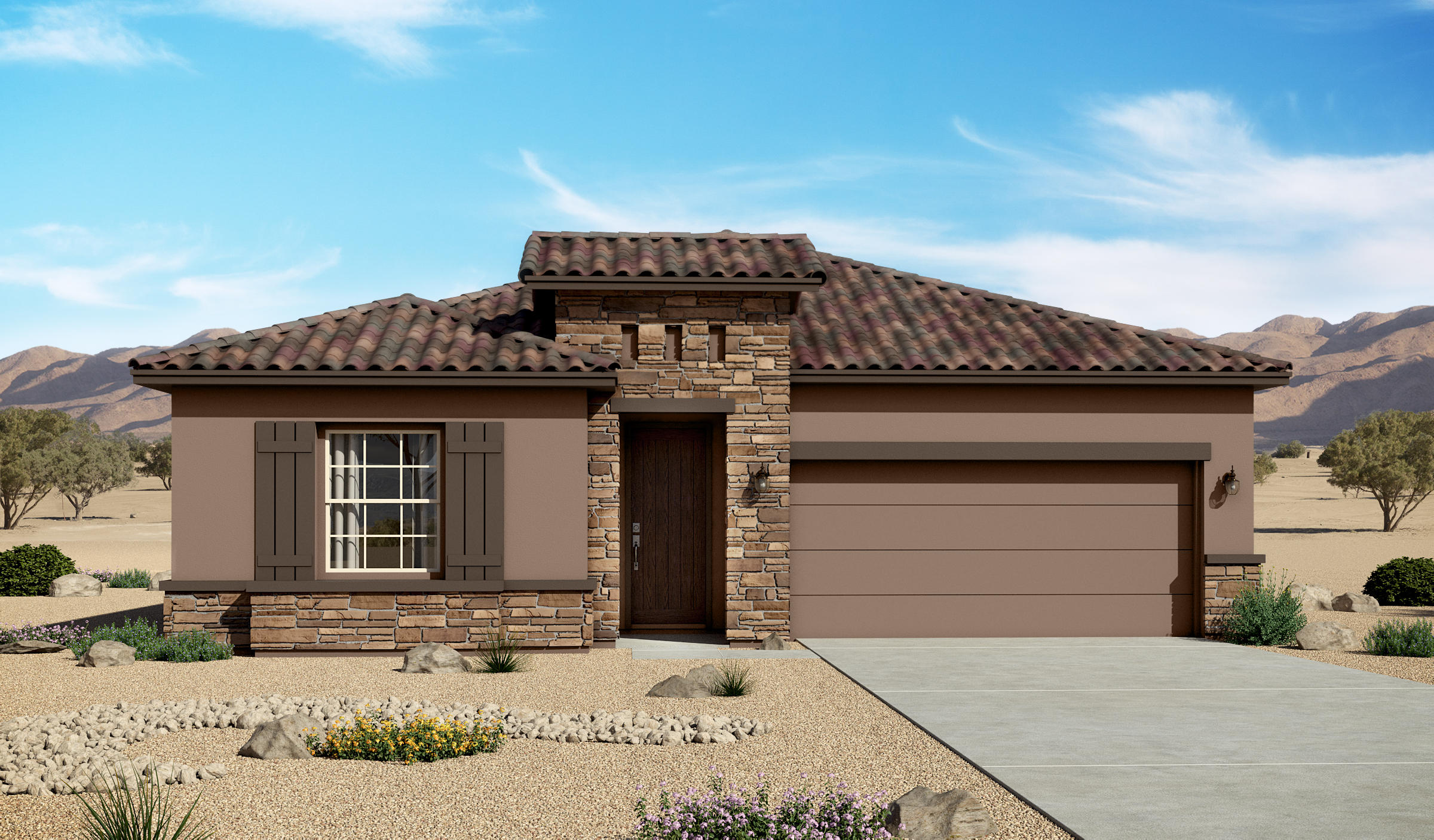 Beautiful 3 bedroom 2 bath home in desirable Lomas Encantadas community.  This home is stacked with a 36'' fireplace; luxurious master bedroom/bath with rain shower head.  This home has a beautiful Gourmet kitchen with stainless steel farm sink.  This home has tiled floors, tiled baths, and bedroom carpet.Gourmet Kitchen.Completion date 12-08-2020
