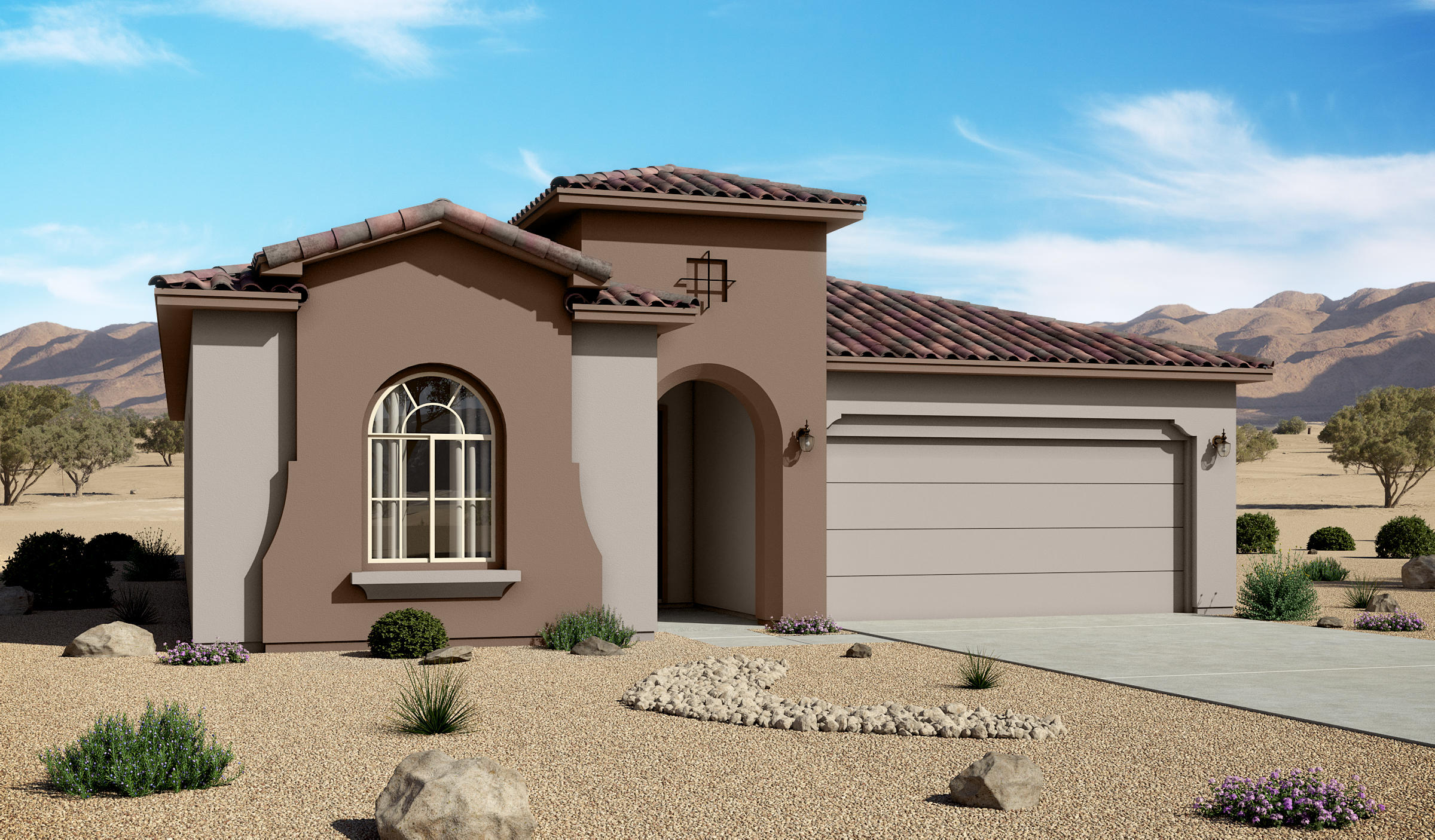 Estimated Completion  12/14/20202119 sf Mediterranean12'x 8' 3 Panel Stacking doors, ceiling beams, Barn door, Gourmet kitchen with pot filler, Tiled floors and bathroom walls; carpet in bedrooms and closets.3 br, 2.5 baths, 2 car garage