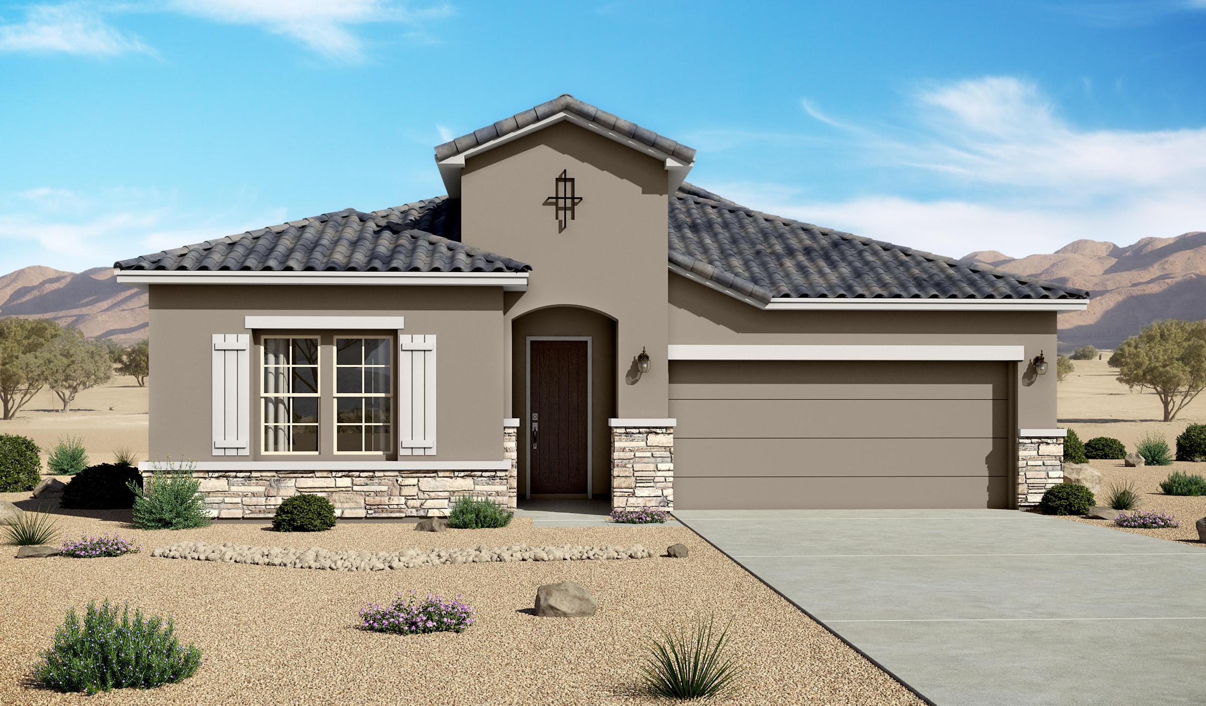 Estimated Completion Date: 12:15;20202119 sf Tuscan Lomas Encantadas Unit 2C Phase 3 Block 1 lot 3536'' Traditional fireplace;pendant lighting over kitchen island;12'' under cabinet lighting; Tiled master bath and shower;8' doors; Gourmet kitchen with farm sink; tiled floors and bathroom walls, carpet in bedrooms and closets.