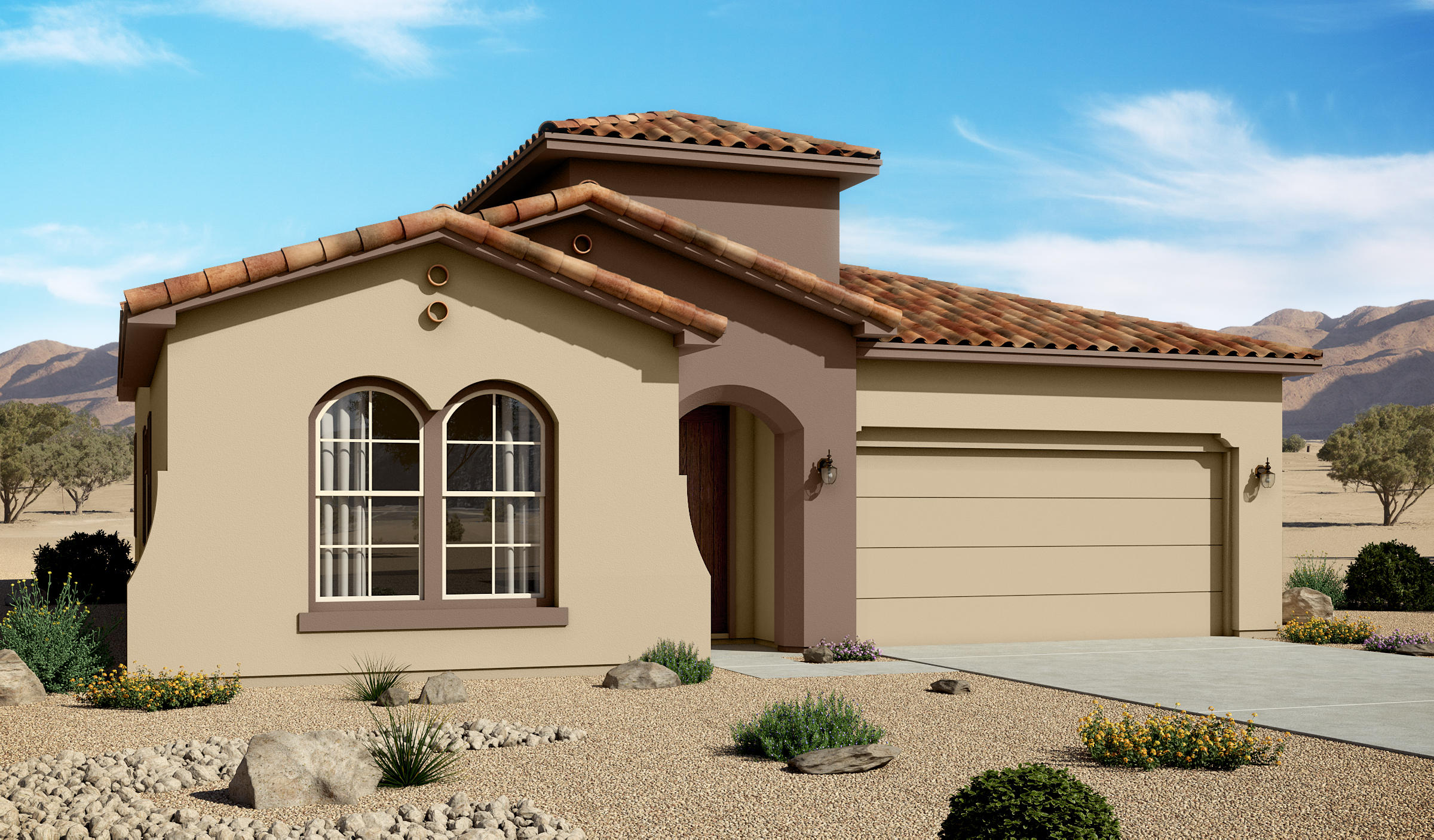 Estimated Completion Date: 12/24/2020 Lomas Encantadas Unit 2C Phase 3 Block 1 lot 361920 Mediterranean3 br 2.5 baths 2 car garage36'' fireplace with Explorer Barcelona tile; Pendant Lighting over Kitchen Island; Master tiled shower with rain shower head; 8' doors; Gourmet Kitchen with farm sink; Tiled floors and Bathroom walls; carpet in bedrooms and closets