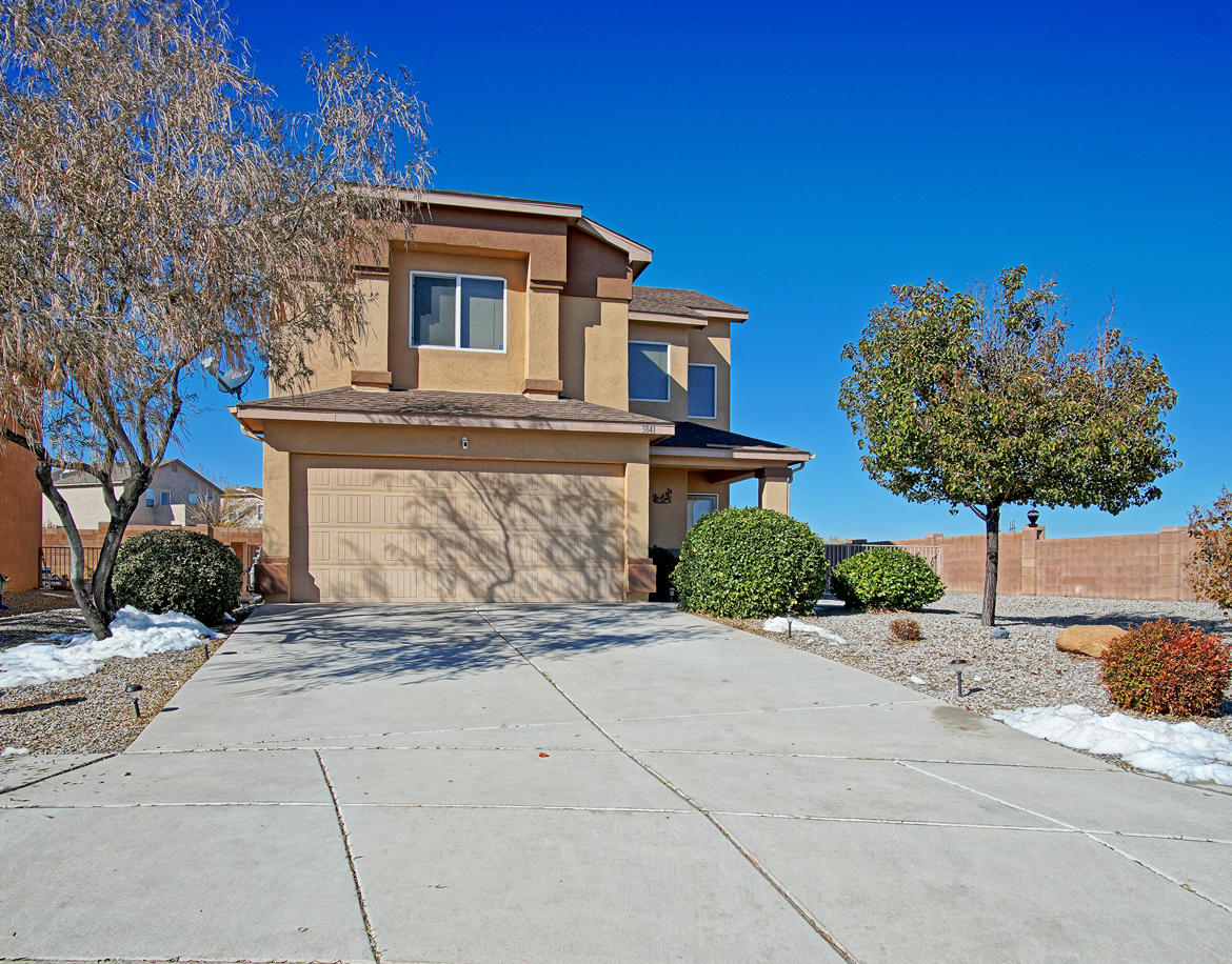 Northern Meadows beauty! 3 bedroom, 2.5 bathrooms home with an eat in kitchen and walk in pantry.  Complete kitchen upgrade with granite countertops, shaker cabinets, and new appliances. New laminate flooring in living room, tile in kitchen, carpet in bedrooms and window coverings two years ago.  New stucco was reapplied less than 1 year ago. Located on a Cul De Sac for privacy.  Neighbor on one side only with oversized back and side yard. Enjoy morning coffee from front porch with spectacular view of the east mountains.  Within minutes of S.V. Cleveland HS, CNM/UNM West, UNM Sandoval Medical Center, City Hall, Rio Rancho convention center.