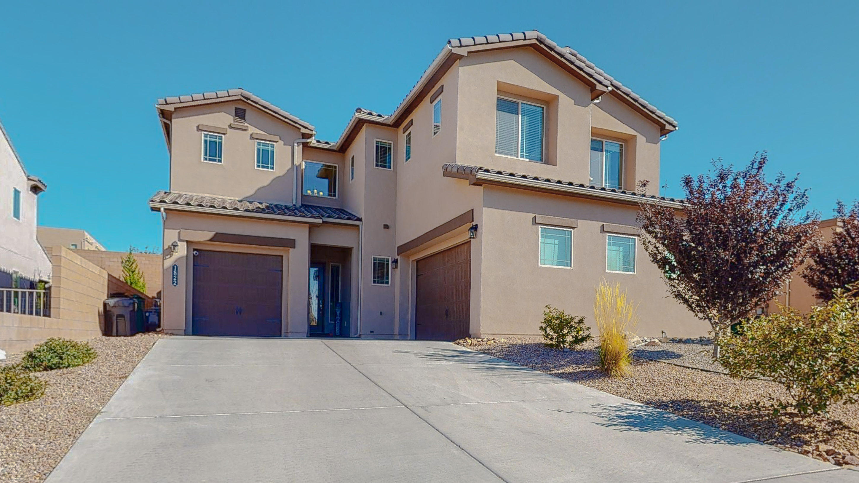 You'll be amazed at this popular DR Horton Leslie model in the beautiful Cabezon! The exterior architectural design will have you in awe as soon as you pull up! This NM Green Built Silver Certified is extremely energy efficient! Bring the in-laws as this home has 2 Masters, one on main level, and one upstairs! 2 additional bedrooms upstairs and a total of 3.5 bathrooms! Main level has an open living room, dining room and flows right into a beautiful gourmet kitchen. Main level master has full on-suite bathroom! Upstairs you walk into a Loft/game room overlooking the family room below. Over-sized laundry room upstairs. Then the Master Suite that has a beautiful bathroom with separate garden tub and massive his and hers closets! Refrigerator, Washer and Dryer and HOT TUB all convey.