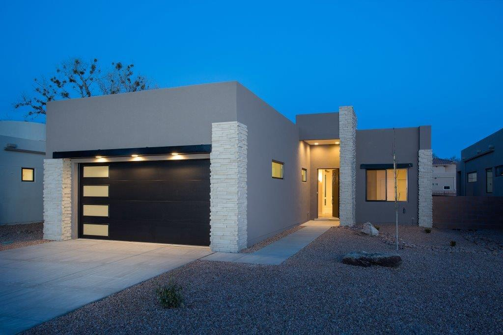 To be built beautiful contemporary Sivage home in small gated community at the end of Campbell Road west of Rio Grande Boulevard. In the green tree belt area surrounded by cottonwoods. Just a few feet from the Rio Grande Bosque Trail entrance. With very easy access to the Bosque walking / bike trails and the Rio Grande Nature Center. Close to shopping, restaurants, Old Town, Downtown, and freeway access. This three bedroom is for the discriminating buyer who wants elite city plus Bosque living with minimal upkeep. Garage is 3-car size but will have a 2-car door. Leaving great workshop area or storage. Finishes : Quartz counters, High End Designer cabinets, Pella windows,... Purchase now to pick your own colors and lock in prices before they go up!