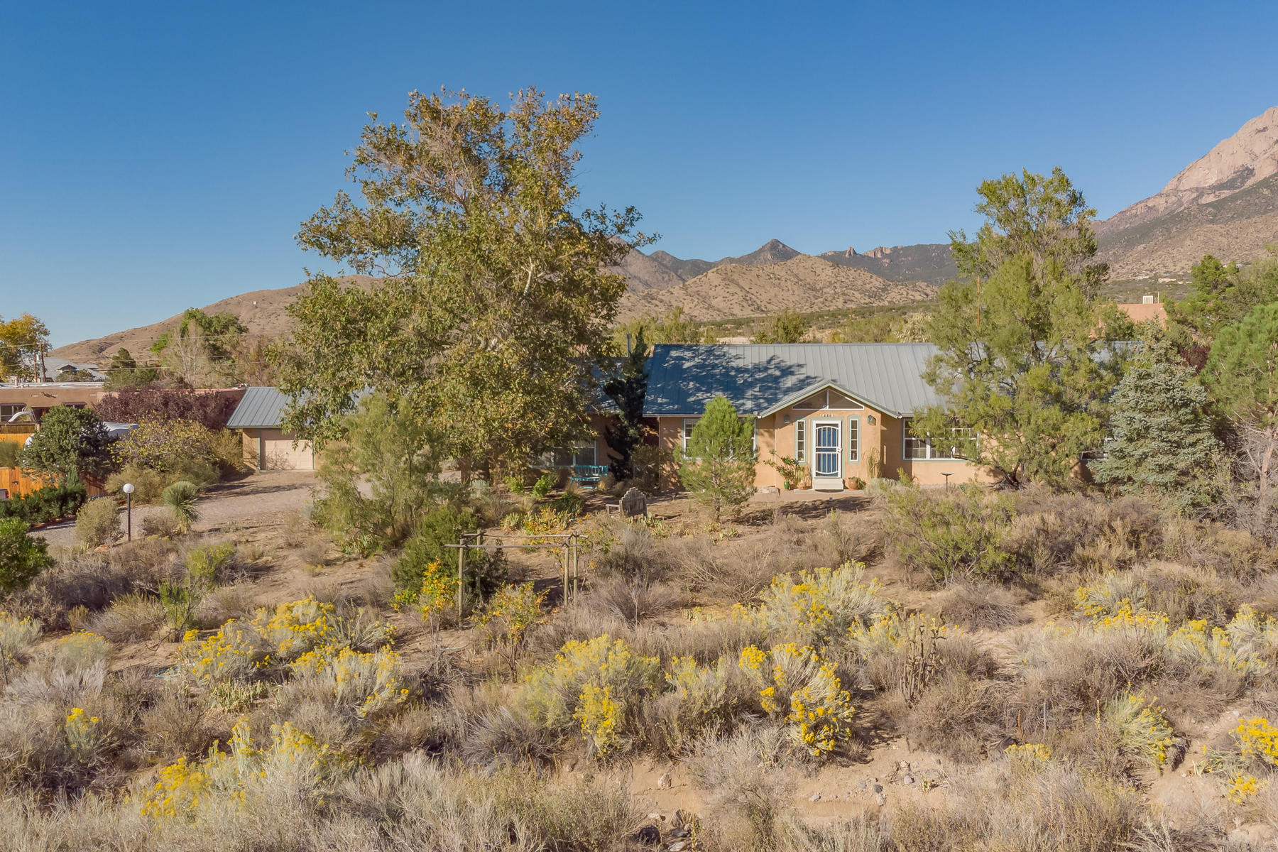 Want to feel like you're away from the city? Look no further! This North Abq Acres beauty has almost an acre of mature landscaping. It's a single story that boasts an oversize 2 car garage + detached 3rd car gar connected to a studio/workshop (whatever you need it to be). Find comfort in this space w/a cozy wood burning stove and ceiling fan. An atrium welcomes you into the main house w/open floor plan, polished brick floors, and high ceilings. Granite counters, stainless appliances, and a moveable island in the kitchen. Refr A/C, ceiling fans, forced air heater, and fireplace for just the right temp. Add'l amenities included but not limited to instant hot water, washtub in laundry, light dimmers, tile in the baths, a nice long cov'd patio, grass, fruit trees, garden box, and Zen area.