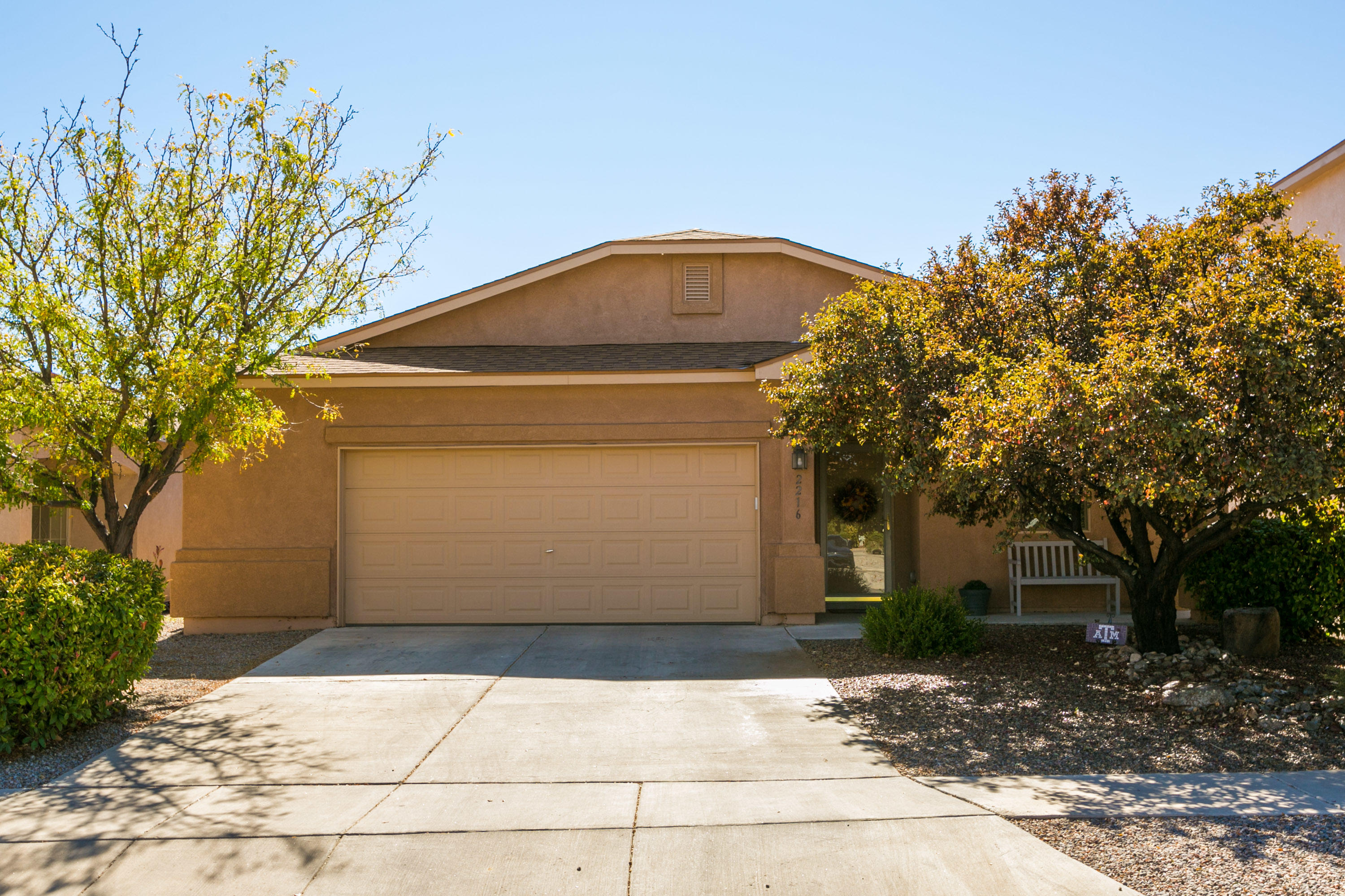 Welcome to this delightful single story, 4 bedroom home in Cabezon!  This home has a wonderful open floorplan with the kitchen open to the living room and dining room and new wood looking laminate flooring.   The spacious living area has a cozy wood burning fireplace.    The home also boasts of refrigerated A/C, raised block walls for privacy in the backyard, fans in all of the bedrooms, new microwave, darling butcher block island that conveys with property, garden tub and spacious walk in closet in the master.  This home is well kept with lovely, light & neutral colors throughout...pride of ownership is apparent.  Don't miss this one!