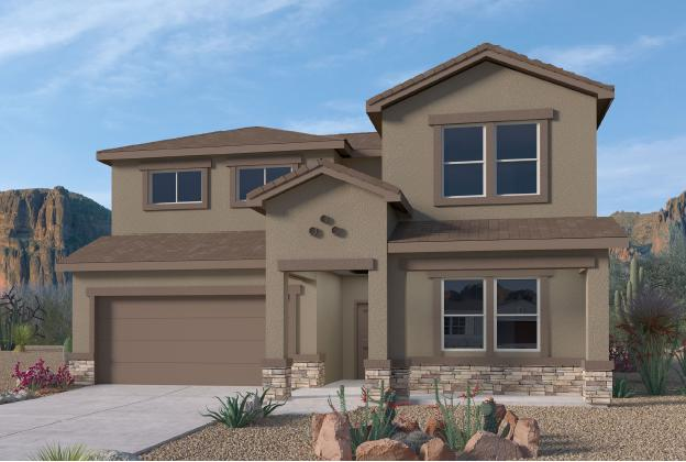 BRAND NEW FLOORPLAN in the Volterra IV community in SE ABQ! This never lived-in home is CURRENTLY BEING BUILT. Our incredible 2-story ''Olivia'' model offers a large open kitchen / living area with GAS FIREPLACE. Besides plenty of standard features like granite kitchen countertop and tile flooring, the BUILT-IN CHEF'S KITCHEN and FRAMELESS HEAVY GLASS WALK IN SHOWER / GARDEN TUB COMBO will make your home your OWN! Spacious primary bedroom is on the main floor. The upstairs loft provides a GREAT VIEW of the east mountains. A gas stub at the outdoor covered patio will ensure a stress-free family bbq... Call today to set up a showing of our beautiful model homes or to learn more about our Volterra IV community!