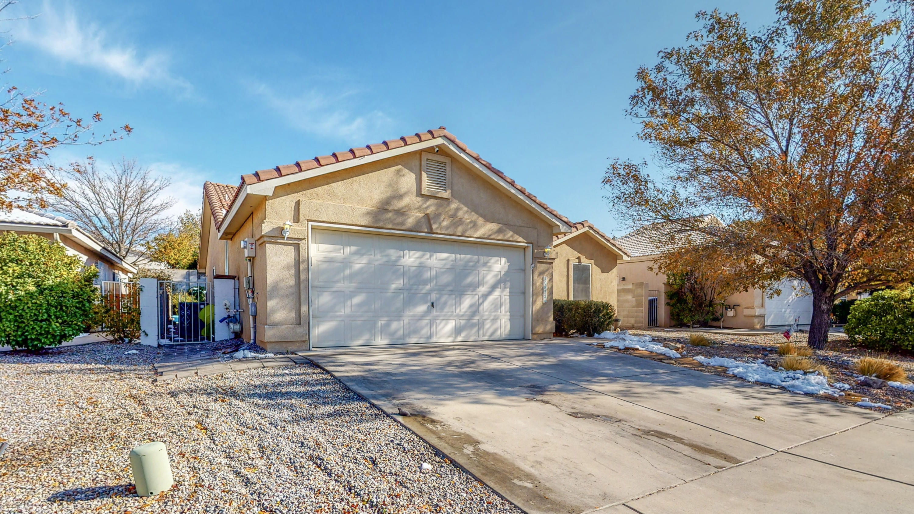 Terrific open floor plan in desirable Willow Wood neighborhood close to base entrance on a private street.  Retreat to the Master Bedroom, with walk-in closet, or entertain in the tiered back yard.  Spend time with family in the open floor plan.  Xeriscaped front yard and pitched tile roof draw the eye to this beautiful home on a quiet street.  Convenient to KAFB, Sandia Labs, the Tech Center, Manzano Mesa Community Center, Costco, the Nuclear Museum and more!  Currently rented.