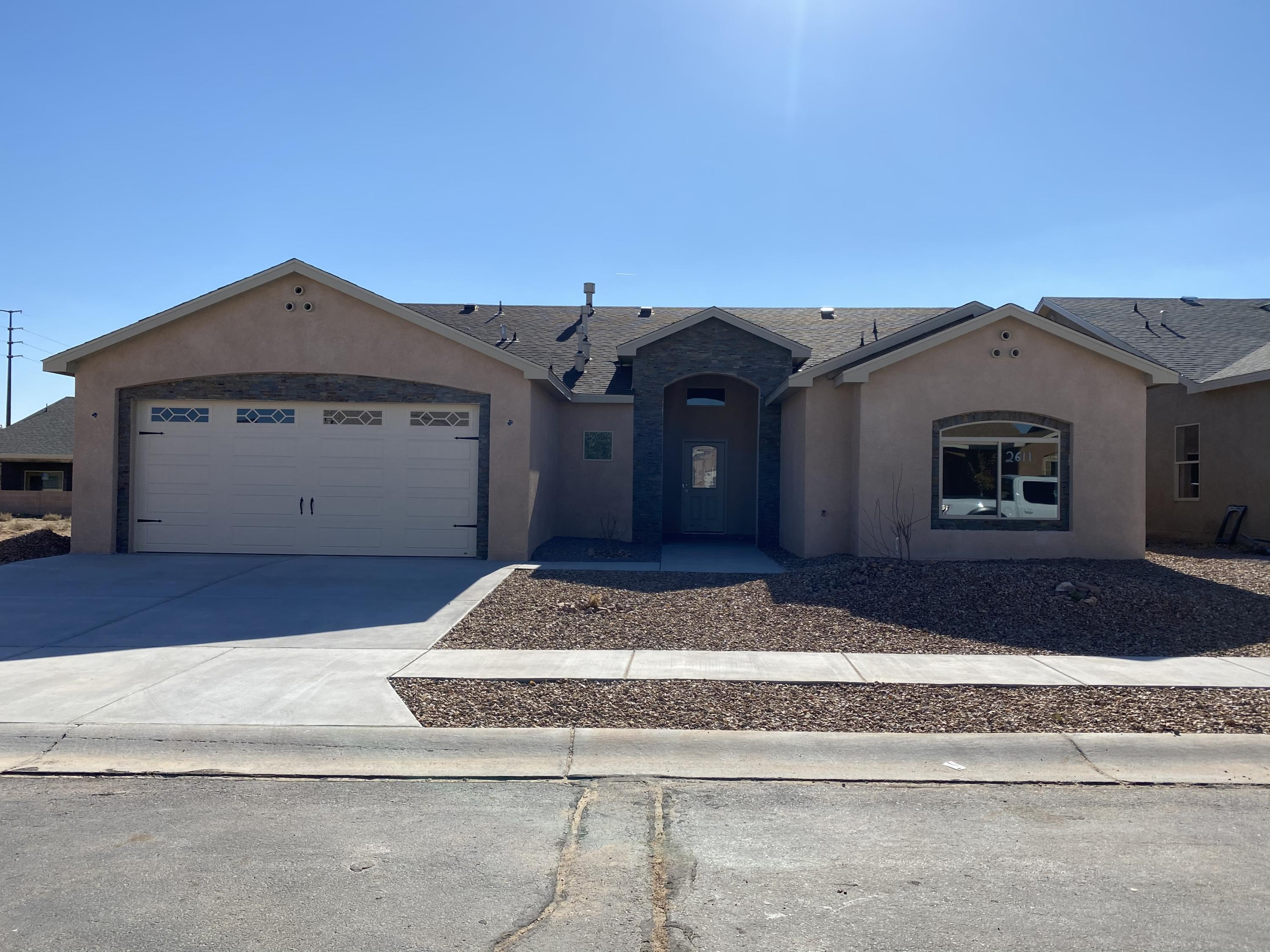 Newly completed custom home Kaladine Floor plan in the Wild Flower gated community. Easy on and off Freeway I-25 for the commuter. Home built on a Guaranteed Post Tension Slab. Home boasts of many upgraded features w/ an open floor plan with vaulted ceiling including stacked stone accents on the interior and exterior. Open Kitchen with Granite counter tops, decorative tile back splash, custom cabinets, stainless steel/black appliances and large pantry. Family Room with Gas log fireplace. Master suite with Large walk in closet. 2 other large rooms w/ large closets. Plenty of room in the 2 car finished garage with openers. Covered back patio to relax. Don't delay, make an appointment to view this beautiful home today! Home comes w/ one year builders warranty and 10 yr post tension slab wrnty