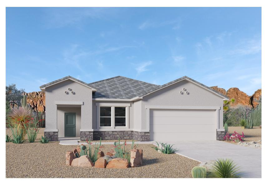 LIMITED TIME PROMO: Receive up tp $7,000 Flex Cash PLUS up to $5,000 towards closing cost! Beautiful NEW HOME in the Volterra IV community in SE ABQ! This never lived-in home is CURRENTLY BEING BUILT. Our incredible 1-story ''Clayton'' model offers a bright and open kitchen / living area. Besides plenty of standard features like granite kitchen counter top and tile flooring, the UPGRADED 7x20 TILE FLOORING AND WALK-IN SHOWER/GARDEN TUB COMBO will make your home stand out! Primary bedroom is secluded from the remaining two bedrooms to guarantee privacy, after a family dinner in the spacious dining area or on your own covered outdoor patio... Call today to set up a showing of our beautiful homes or to learn more about our Volterra IV community!
