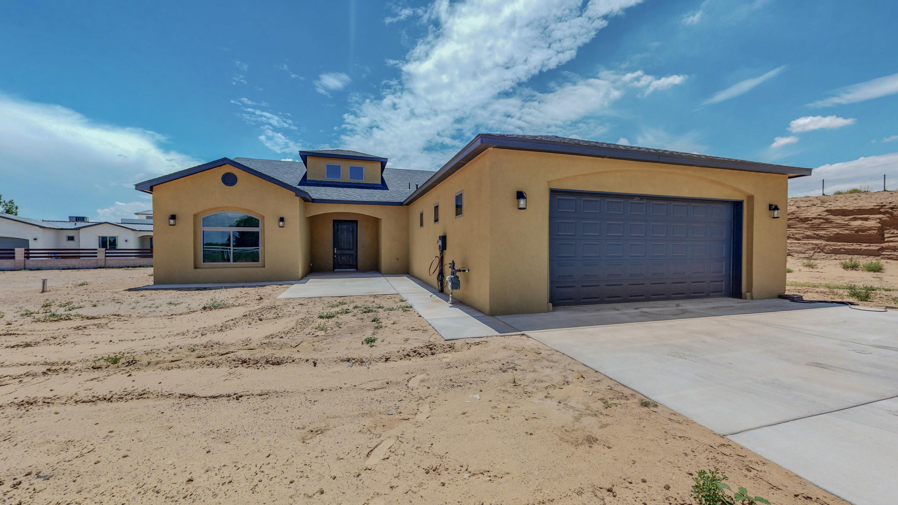 Beautiful Brand New Home with an split, open floor plan on a 1 acre lot! Home has 10 ft high ceilings throughout, big windows, the custom fireplace in living room opens to the spacious kitchen and big island with sink, walk in pantry, lots of wood cabinets and counter space, Big laundry room with sink and cabinets. Master offers custom walk-in closet, huge walk-in tile shower plus his and hers vanities. Bedroom 2 and 3 have a walk-in closet and share a jack-n-jill bathroom. 4th bedroom could be great for an office or guess room. Other amenities include oversized car garage with windows for natural light, a big porch with lights to enjoy the backyard, private well and septic, with natural gas. Bring the family, horses and animals! Call for your private showing!!