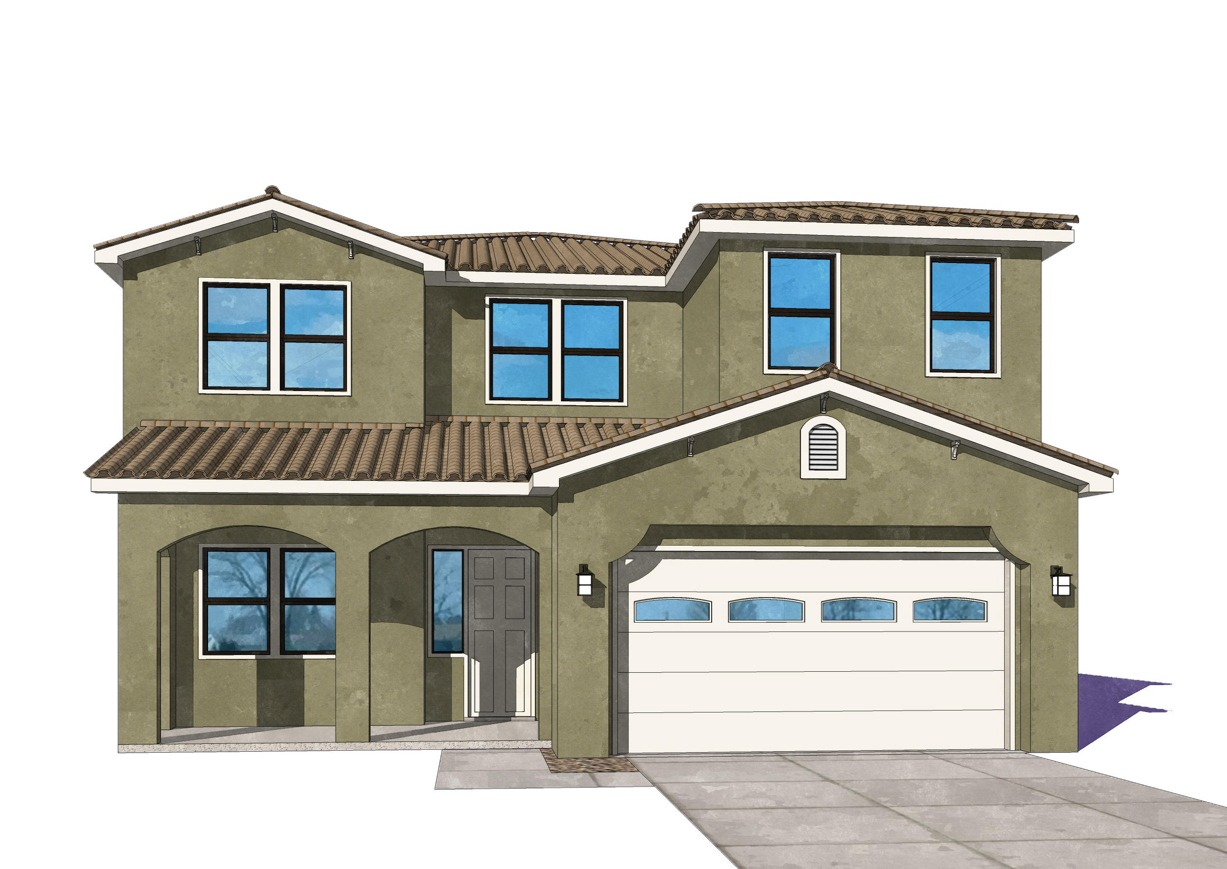 Under construction for completion in May. Pics are of model and may vary. This is a stunning home that will impress. Coffered ceilings, spacious study, enviable master suite and a huge dining, living, kitchen area. The living room has a fireplace and lovely bay windows. The dining room has oversize sliding glass doors (8' x 9') which open to a large covered patio. The features include granite countertops in all baths and kitchen, ceramic tile in kitchen, laundry and all baths. The master suite has a garden tub and tile shower with dual shower heads and rainhead, dual sinks, and a large walk in closet. Low E dual paned windows, tankless water heater, 13 SEER, and other energy efficient features. A full Samsung stainless steel SxS refrig,micro,DW, range and in white, a washer and dryer.