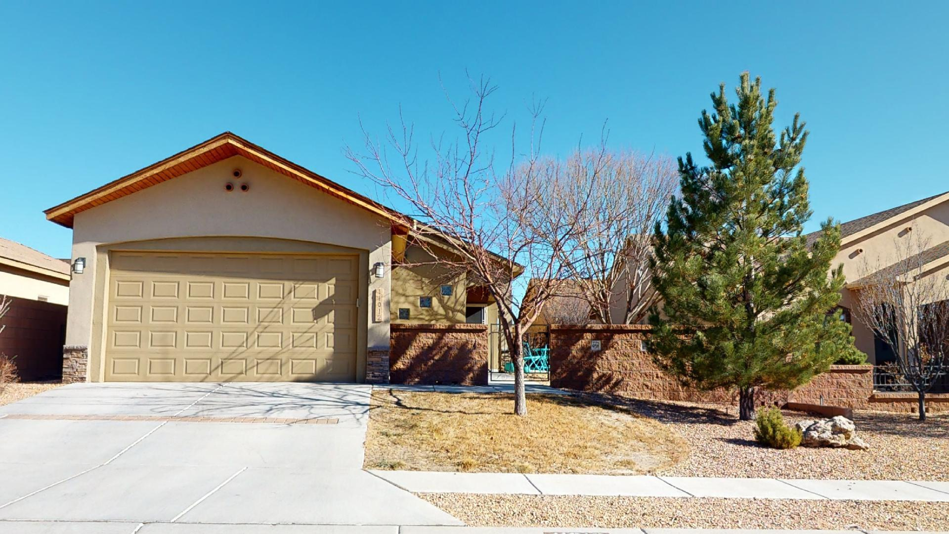 No showings until Saturday 1/23/21. Beautiful, fully-landscaped, energy efficient Paul Allen home, near all the amenities of westside ABQ. This is a Build Green New Mexico Gold home. 3 Bedroom, 2 Full baths. Refrigerated air. Tankless water heater. 2 car garage. This is a well-cared for home, with upgrades, fresh paint, a back patio with lots of privacy, drip system watering, and secure courtyard. Enjoy a lovely night on the back patio in the shade of this west-facing house.  2k Seller flooring credit with acceptable offer.