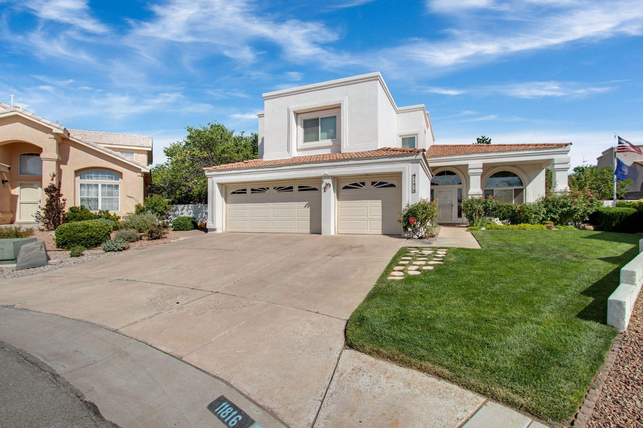 You will have a hard time finding a more well cared for home than this Charter masterpiece.  When you first enter the home you are greeted with high ceilings, large windows with plantation shutters and nice architectural features.  The kitchen has granite, stainless Kitchen Aid appliances, an island, and a pantry. From here you can enjoy backyard cookouts with a large covered patio and a backyard that could be featured in Better Homes and Garden.  The downstairs finishes off with a breakfast nook, a den, and downstairs office that could also be a fourth bedroom.  Upstairs you will find a nice open loft, two more bedrooms and the master suite which has a three way fireplace, jetted tub, large walk-in closet and a patio which overlooks the backyard and the Sandias. Call your Realtor Now!