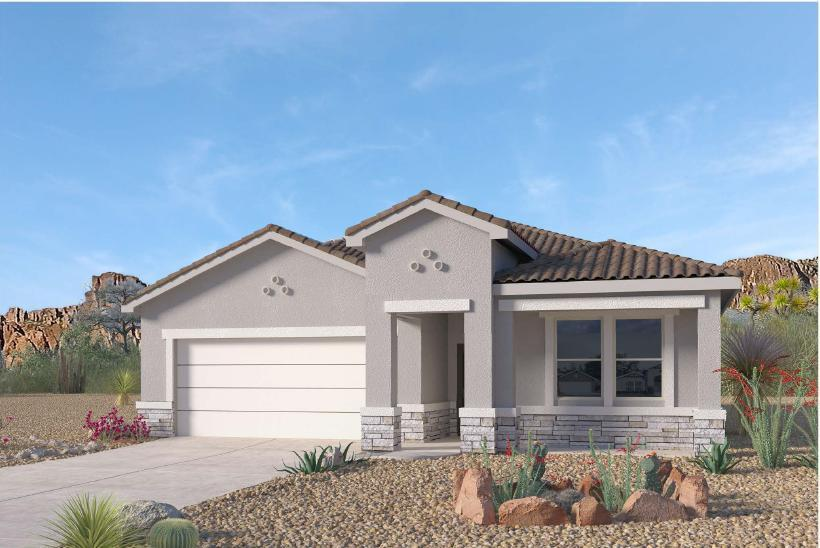 Beautiful NEW HOME in the Volterra IV community in SE ABQ! This never lived-in home is CURRENTLY BEING BUILT. Our incredible 1-story ''Logan'' model offers a bright and open kitchen / living area. Besides plenty of standard features like granite kitchen countertop and tile flooring, the STAIN-STEEL KITCHEN, FRAMELESS HEAVY GLASS WALK IN SHOWER AND PREMIUM INTERIOR PACKAGE will make your home stand out! Primary bedroom is secluded from the remaining three bedrooms to guarantee privacy. An additional flex room can be used as study or office... Call today to set up a showing of our beautiful model homes or to learn more about our Volterra IV community!NEW YEARS PROMO! UPTO $7000 OF INCENTIVES!!WE ARE OFFERING MILITARY INCENTIVE OF $2000 OFF OF PRICE OF HOME OR CLOSING COST FOR ALL MILITAR