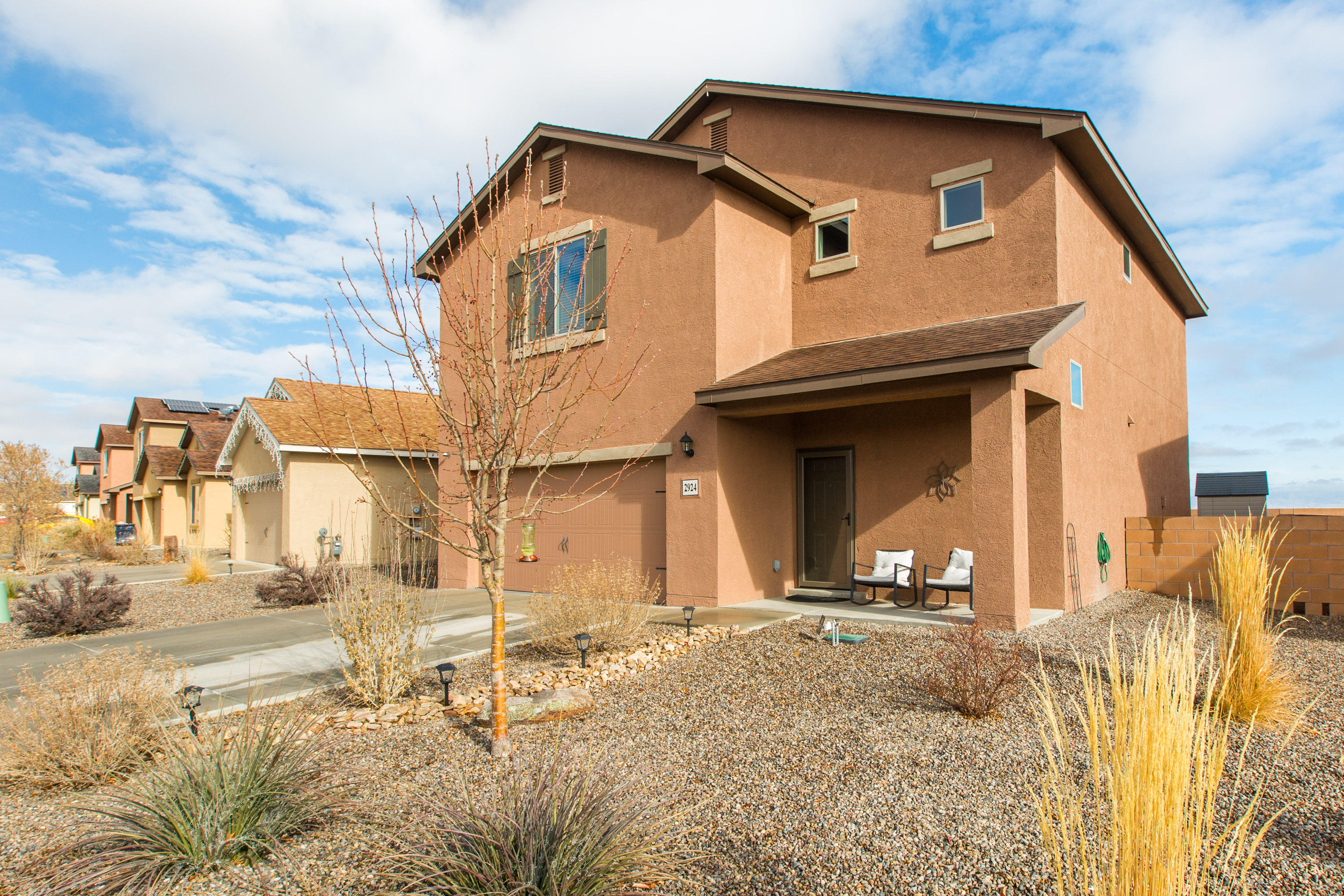 Gorgeous, newer two story LGI home completed in 2017. Stylish updates and incredible views of the Sandia Mountains make for an incredible home. Find all four bedrooms and the laundry room located on the second level, leaving your living room, kitchen, and half bath on the main level. Enjoy the backyard under the gazebo or the clean, finished, two car garage (with ceiling fan!) in addition to the beautiful indoor living space. Contact your Realtor for a showing or virtual tour today!