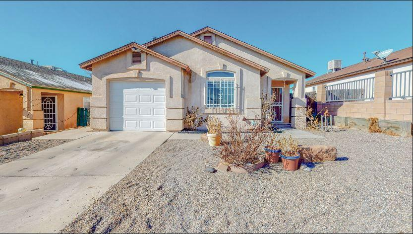 2 bedrooms with 2 FULL bathrooms on Abq's westside!! New flooring, new paint, new cooling unit! Big walk in closet in master bedroom. Spacious back yard with extra storage shed and one car garage - new garage door. Come see and buy today!