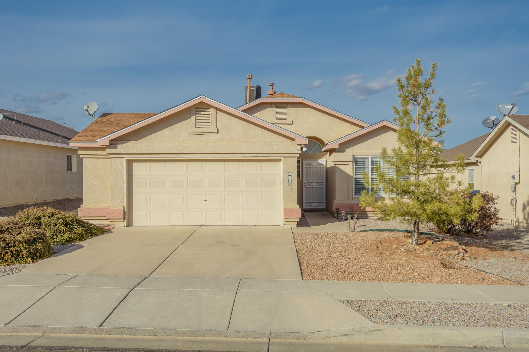 This darling Ventana Ranch home features an open concept, cathedral ceilings, a gas log fireplace and refrigerated air. Kitchen offers plenty of counter space. Plantation shutters throughout provide an aesthetic appeal while keeping the home warm during the winter and cool during the summer. Roof w/transferable warranty installed in 2019. Newer wood-look flooring. Enjoy sitting under the covered patio overlooking the wonderful backyard space complete with a few trees, shrubs and paved with beautiful flagstone. Don't miss out on this Home Sweet Home!