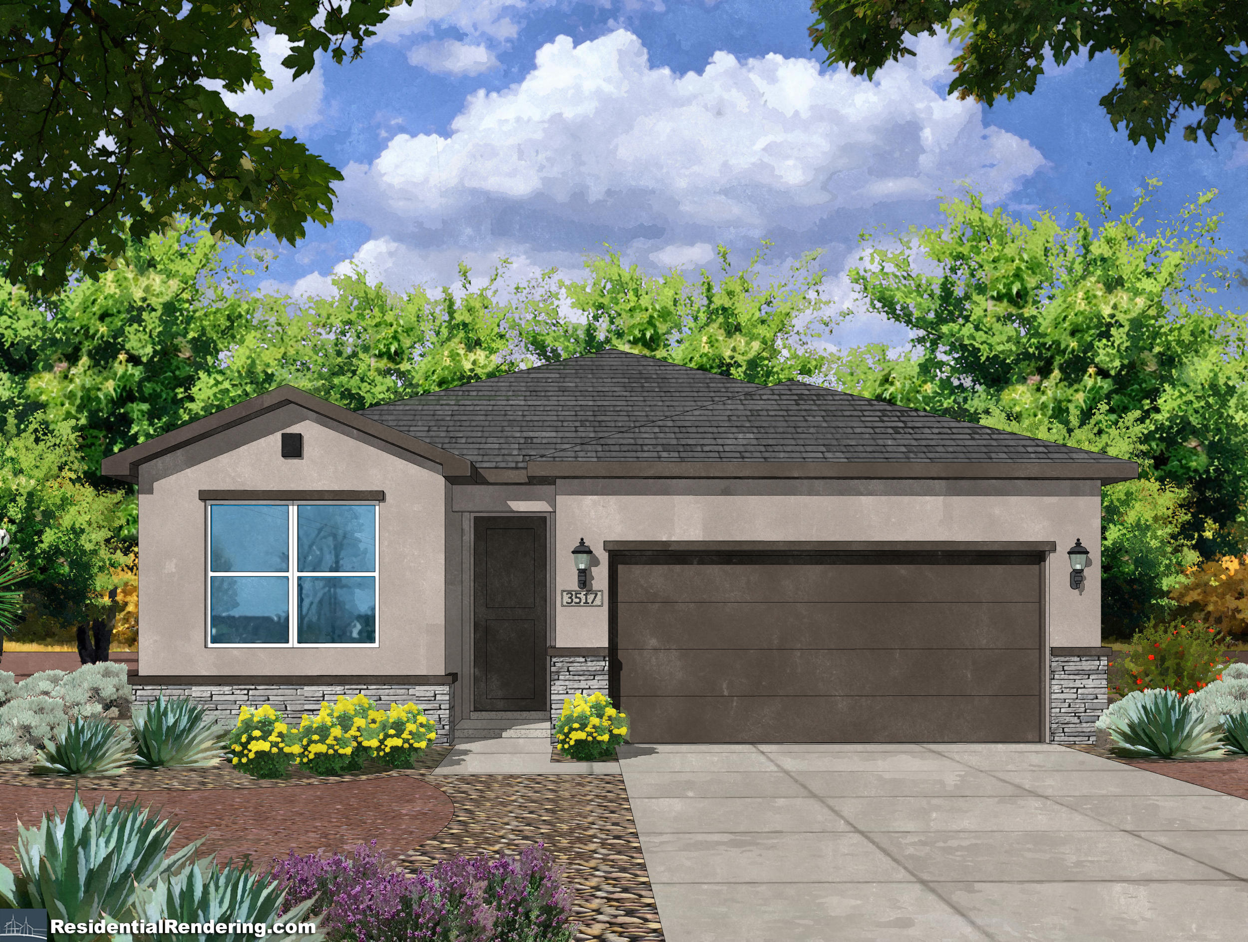 Welcome to The Villas by Amreston Homes! A brand new community in the heart of Enchanted Hills! The bright and open kitchen features solid granite countertops with tile backsplash, kitchen island, staggered maple cabinets w/ crown molding.  Maytag stainless steel appliances including gas range, energy star dishwasher. The bathrooms are outfitted with designer tile shower surrounds, double granite vanity sinks, and tile backsplash. Energy-efficient features include tankless water heater, Carrier 16.0 SEER Refrigerated AC, Low E vinyl windows, 100% Energy Star LED bulbs. Additional upgrades include designer concrete tile roofs, raised panel interior doors, satin nickel lighting package, Decora electrical switches. Front yard landscaping included!