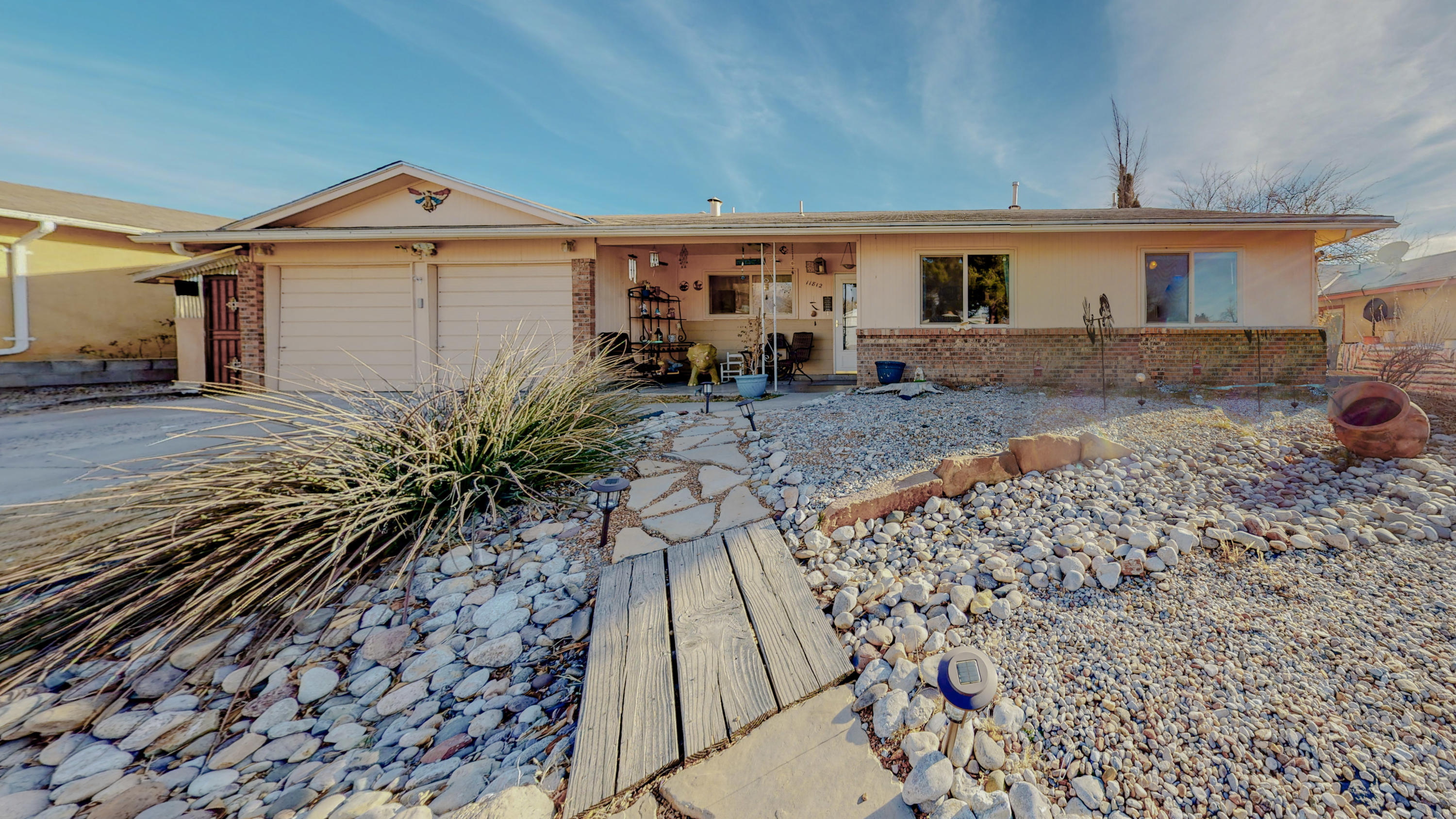 Great 3 bedroom single story home located in Albuquerque's North East Heights. This home offers granite counter tops, refinished cabinets and subway tile backsplash in the kitchen. Updated bathrooms and vanities. Open concept living and dinning with a kitchen peninsula. Second living area or flex room. Back yard amenities include covered patio, inground swimming pool, built in fire pit and deck. Schedule your showing today.