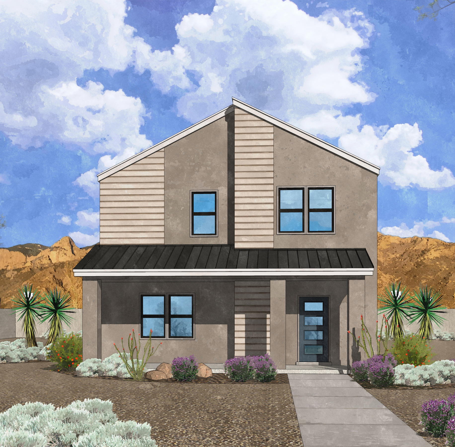 Westway Homes presents the Artisan Series, This floor plan, the Chimayo, is 2 story loaded with beautiful designer finishes. This home is a 3 bedroom, 2.5 bath with granite countertops and designer LVT flooring. Please visit the Westway Homes model in Mesa del Sol for more information. This home is under construction and will be complete in late April of 2021. Photos are of a different home, same floor plan and do not represent the color/finishes for this home.