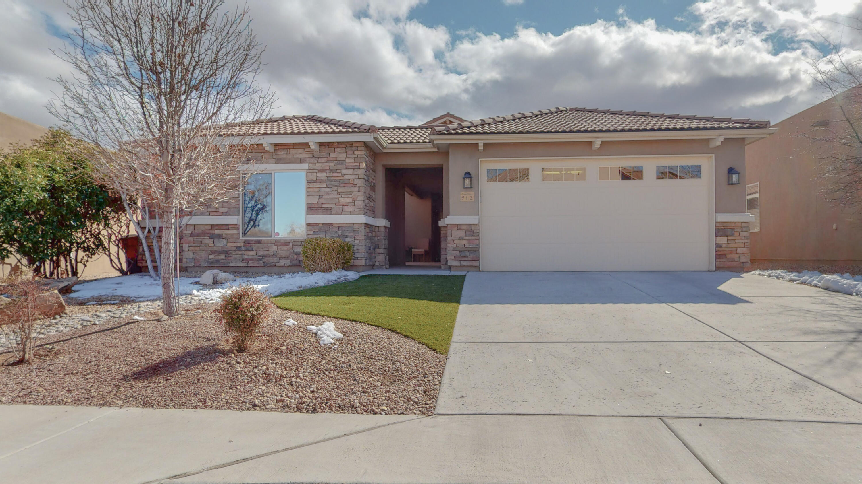 Undeniably this home has the most magnificent views of the Sandia Mountains in this upscale community. Enjoy the peace and tranquility of the spectacular views from your private patio and custom flagstone fire pit. Luxury awaits you inside this elegant home with upgraded flooring and open floor plan. Bright open kitchen has double ovens, granite counters and  island that overlooks the cozy family room.  Delightful custom touches throughout this former model home. Not to mention the casita with endless possibilities! Designers features throughout, includes pull outs, niches and skylights. Welcoming adult community with pools, jacuzzi, fitness center and great location with access to the Bosque. Your buying not just a home but a lifestyle!!