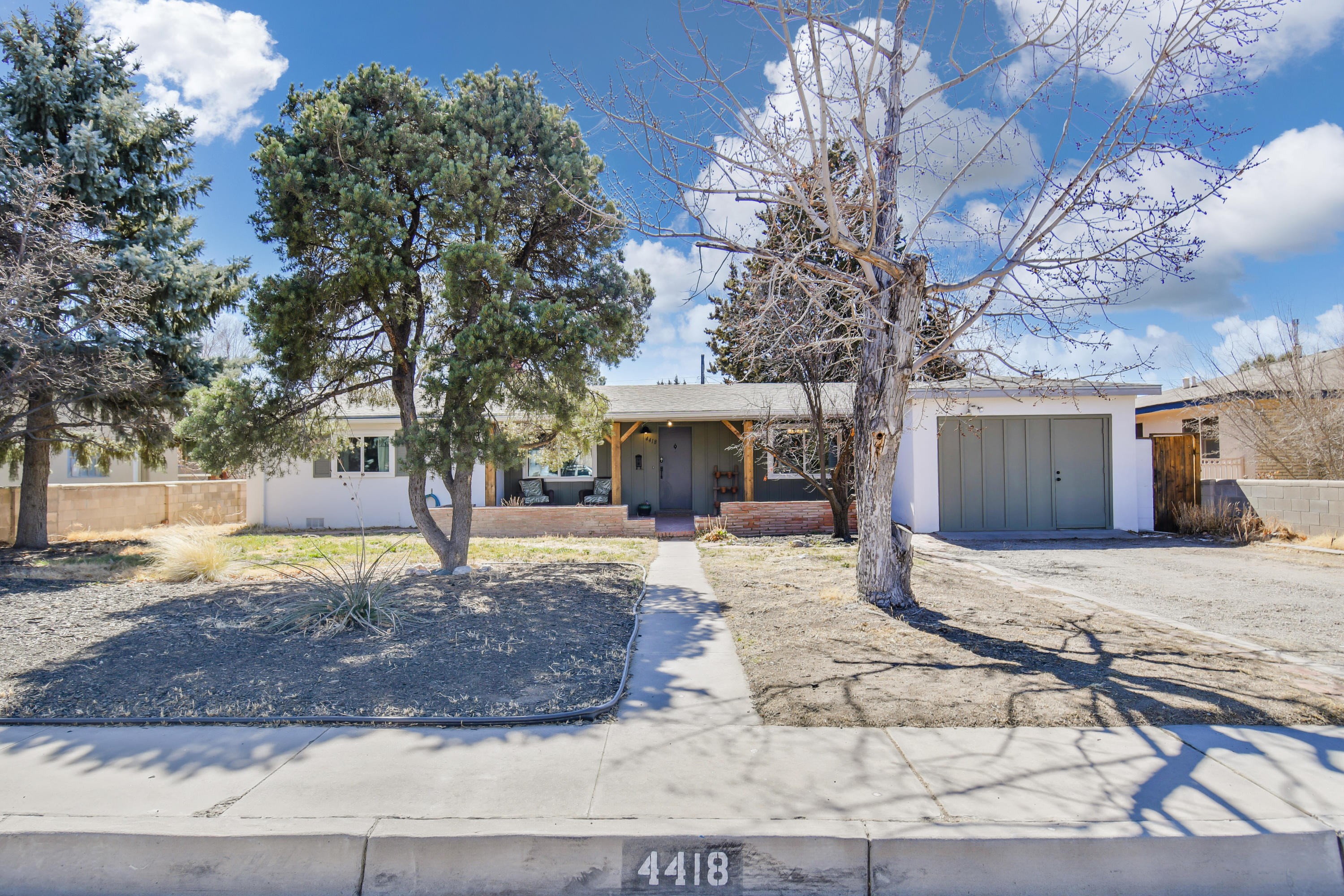 Wonderful Opportunity in Highly Sought after The Altura Area... Just a two doors from Campo Manana Park and Prado Del Sol Park... Beautiful Mature Neighborhood... Location Location Location! Re-Mastered Open Floorplan, Kitchen with New stainless appliances, new cabinets, new granite countertops, farm sink with new faucet, new LED lighting and a custom built-in eating area. Home features new laminate wood flooring, new paint and updated bathrooms. Extra large backyard for entertaining or just relaxing with an inground gunite pool and screened in covered patio.  Yards also feature mature landscaping and a backyard storage shed.  This home is tucked away in a quiet neighborhood yet features easy access to Nob Hill, Altura Park, UNM and City Parks.