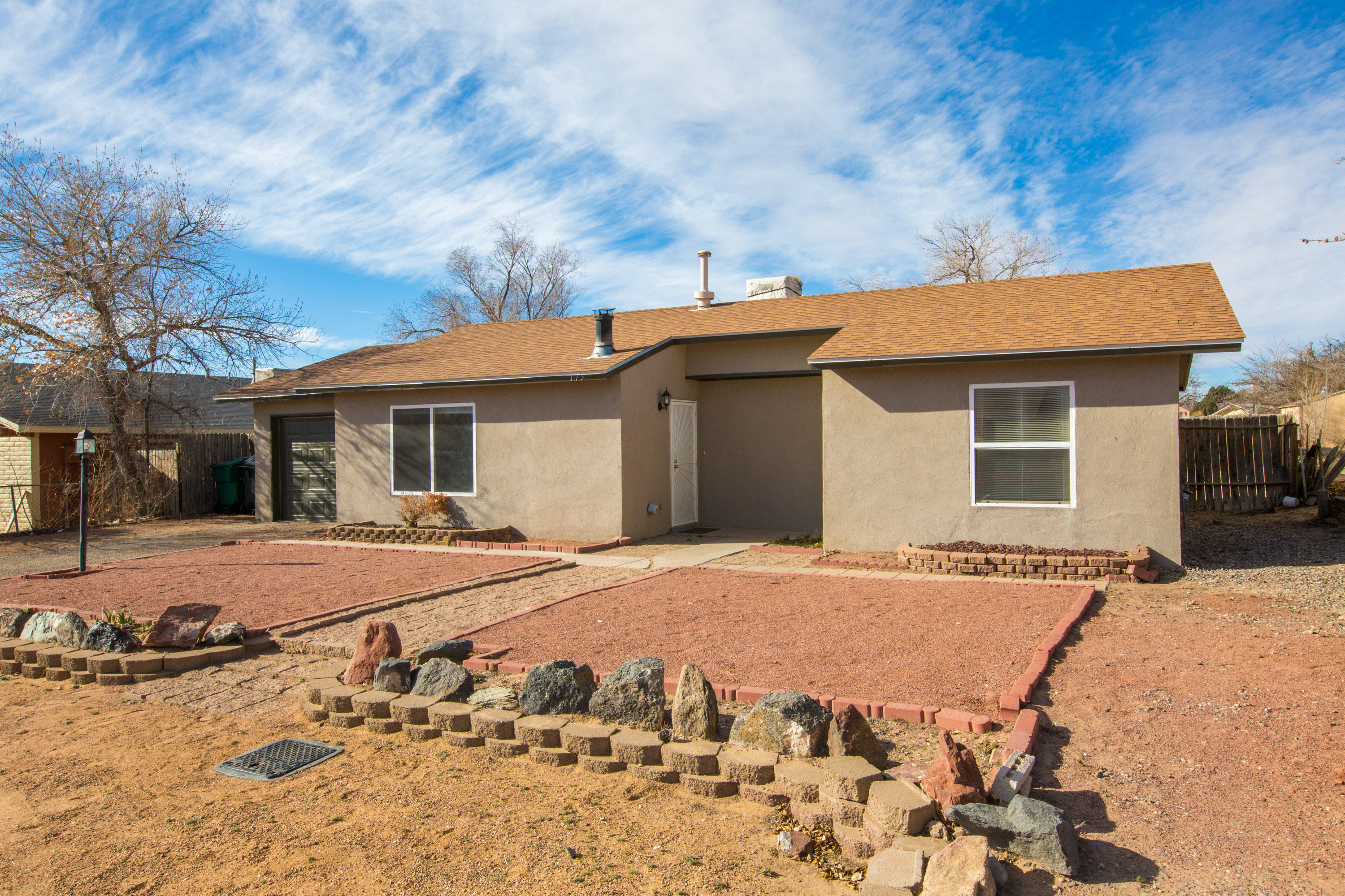 Come check out this listing in Rio Rancho! Great starter home with two bedrooms, and two full bathrooms! Fantastic backyard space, with additional covered structure for all types of uses. Fully renovated guest bathroom! Evaporative cooler installed in May 2020.  New Furnace and New Water heater installed a couple months ago in December 2020.