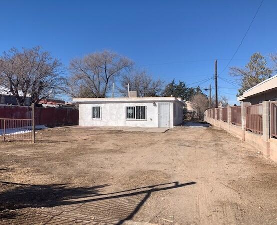 This home has plenty of potential! Large fenced lot centrally located near KAFB, public transportation, schools and shopping/restaurants. See if it will fit your needs! Property is IE (FHA Insurable with buyer repair escrow of up to $10k). Sold AS-IS w/all faults. No pre closing repairs or payments will be made for any reason. ''Insurability subject to buyer's new appraisal.'' For Utility Turn Ons: Approval must be granted in advance from HUDs field service manager. In cases where plumbing deficiencies exist approval for water turn on may be denied. Review PCR for utility turn on info. PCR is not to be relied upon in lieu of a home inspection.