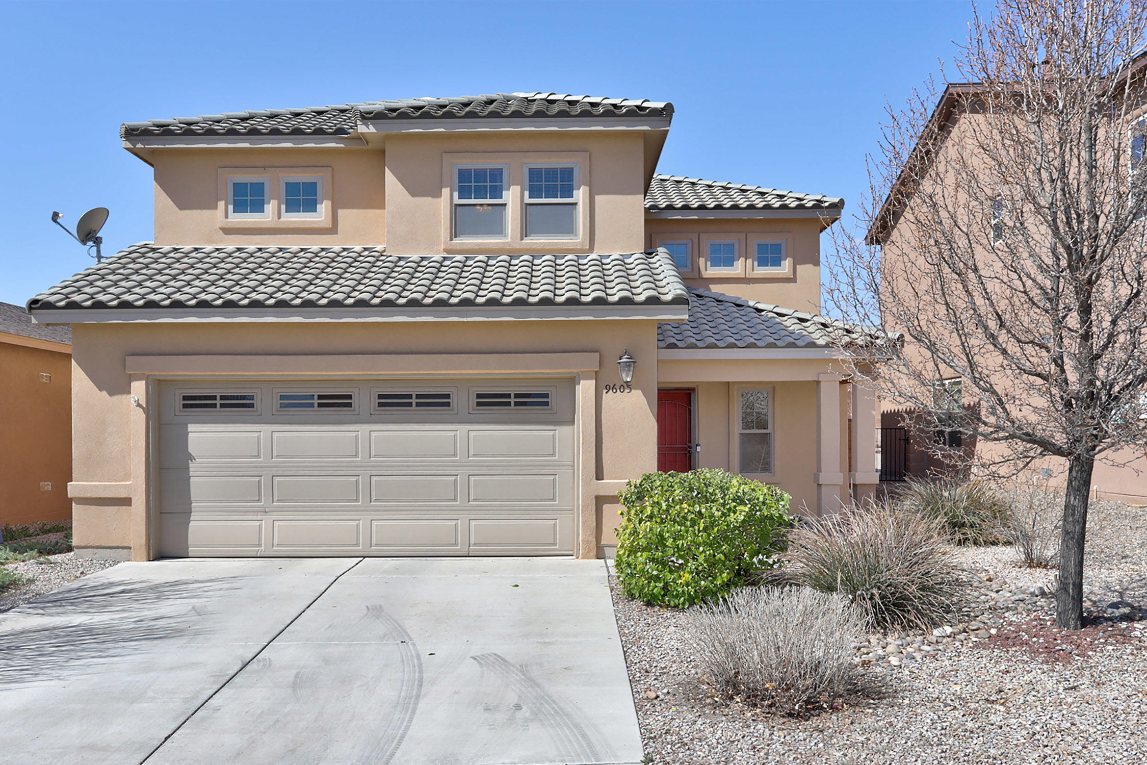 Amazing sq ft in this charming 3  bedrooms with  huge loft  upstairs could be fourth bedroom- Powder bath down with 2 full baths upstairs - owner's suite with garden tub and separate shower- open floor plan with lots of natural light. Large island in kitchen- wonderful dining area & all  open to living area!!Great gathering space  in backyard.The house is Certified Green BuildNM Gold! HERS rating 50+ Energy Star Certified! On demand water heater and water filtration system.