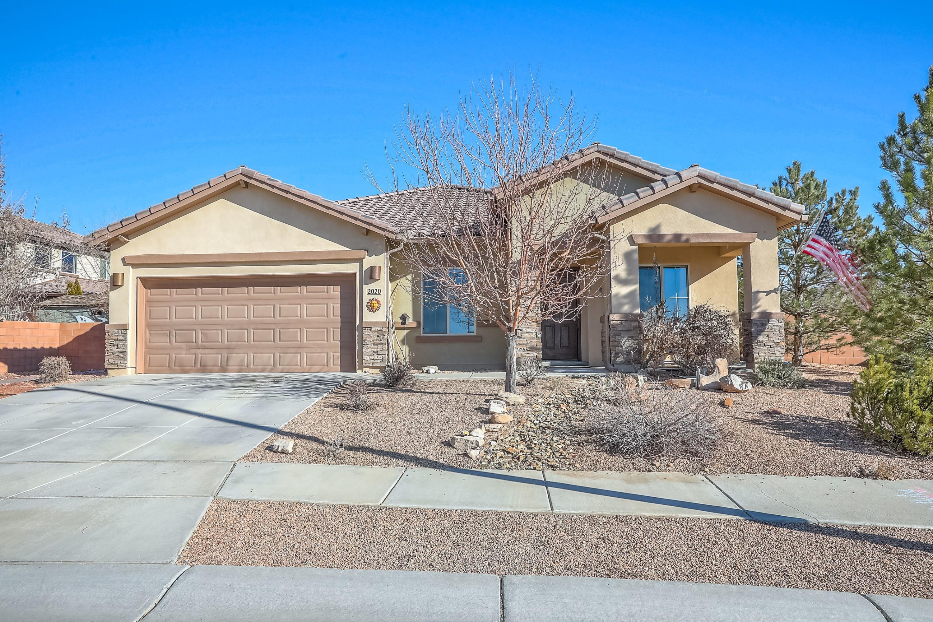 Don't miss the Beautiful SINGLE  STORY home. Situated close to the Air Force Base & Sandia Labs. Home has an Open, Light & Bright Floor Plan. NEWLY PAINTED! This homes sits on a corner lot, providing extra space for outdoor living.  Large  kitchen with Granite Countertops open to large dining area & 2 pantries.. Living room with a gas burning Fireplace. Home also has a Formal dining area (alternative use as a music room) Home has 4 bedrooms plus a study to have your 5th bedroom.   Guest Bath with 2 sinks. Large walk-in closets. Oversized master, on suite with  Garden tub & separate shower & double sinks. . (Seller has patio doors that do not have doggie door to be installed) This home has Taexx Pest Defense.